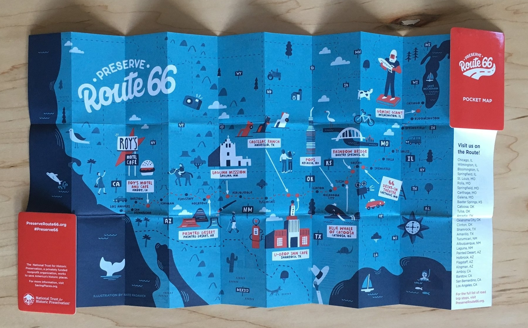 Illustrated map of Route 66 by Nate Padavick.