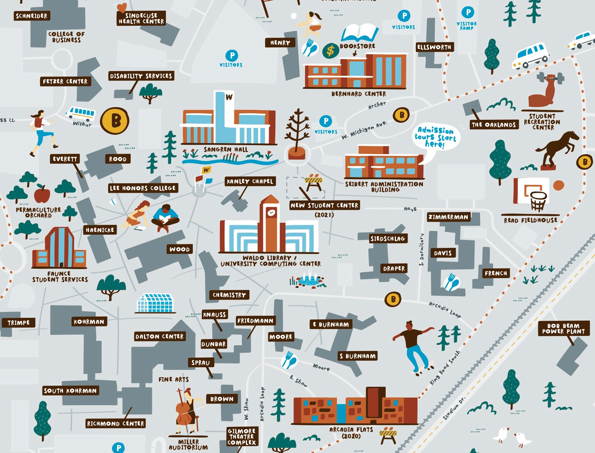 Illustrated Campus Map of Western Michigan University — Nate ...