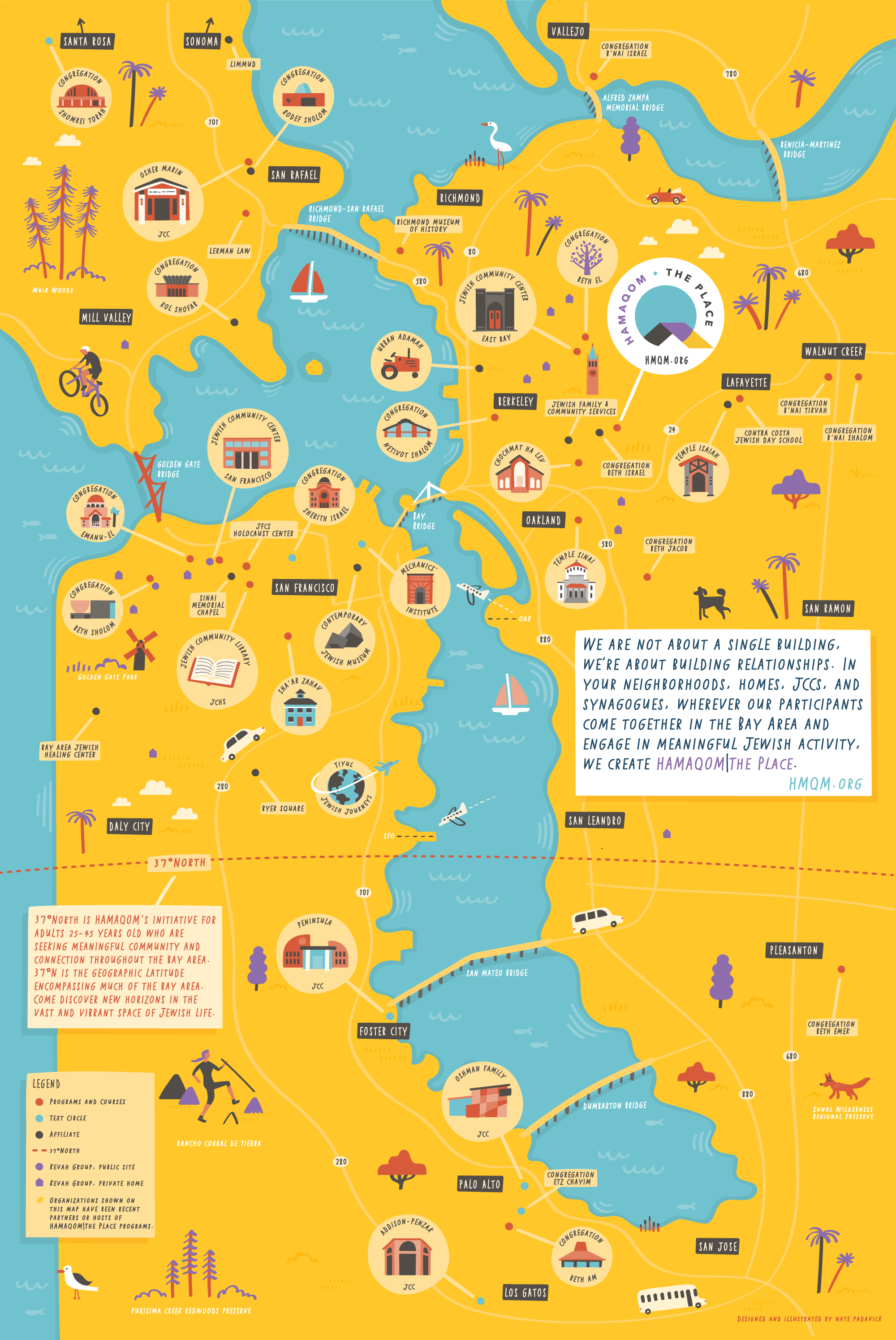 Illustrated Map Of San Francisco Bay Area Jewish Organizations Nate Padavick