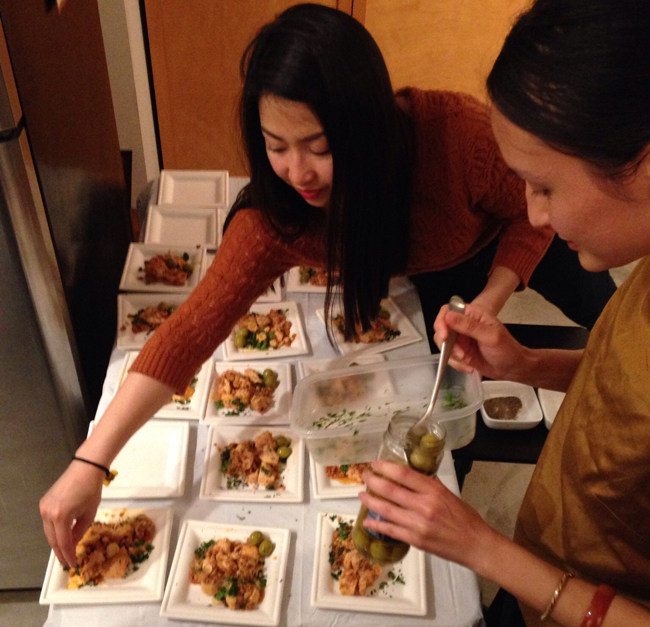 Isa and Moniqa plating one of the final dishes, thanks for all the help!