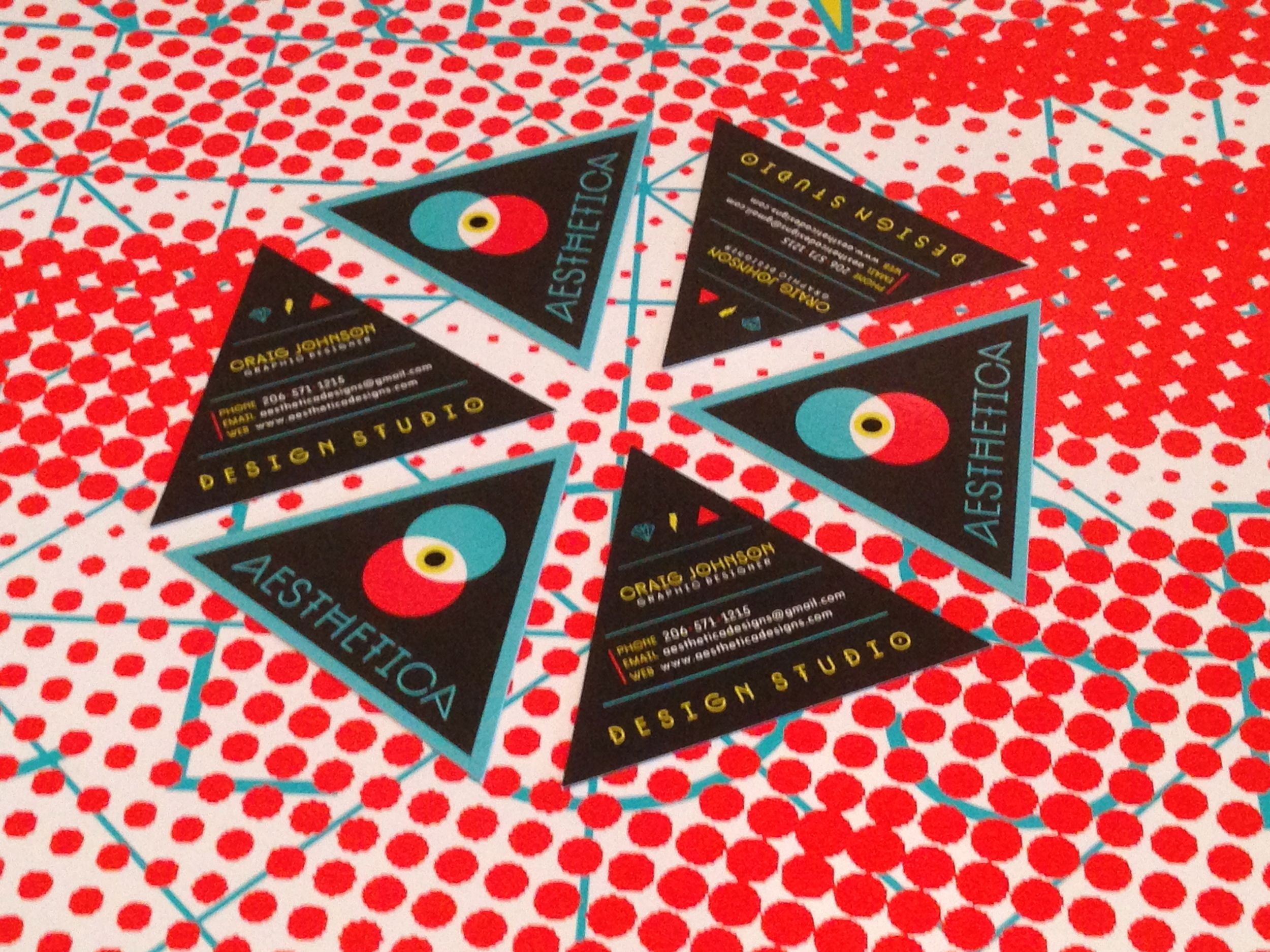 Triangular business cards