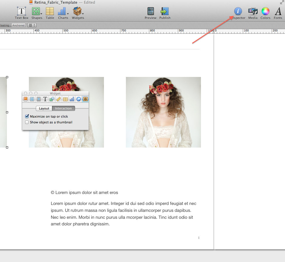 Inspector tab ibooks author tutorial