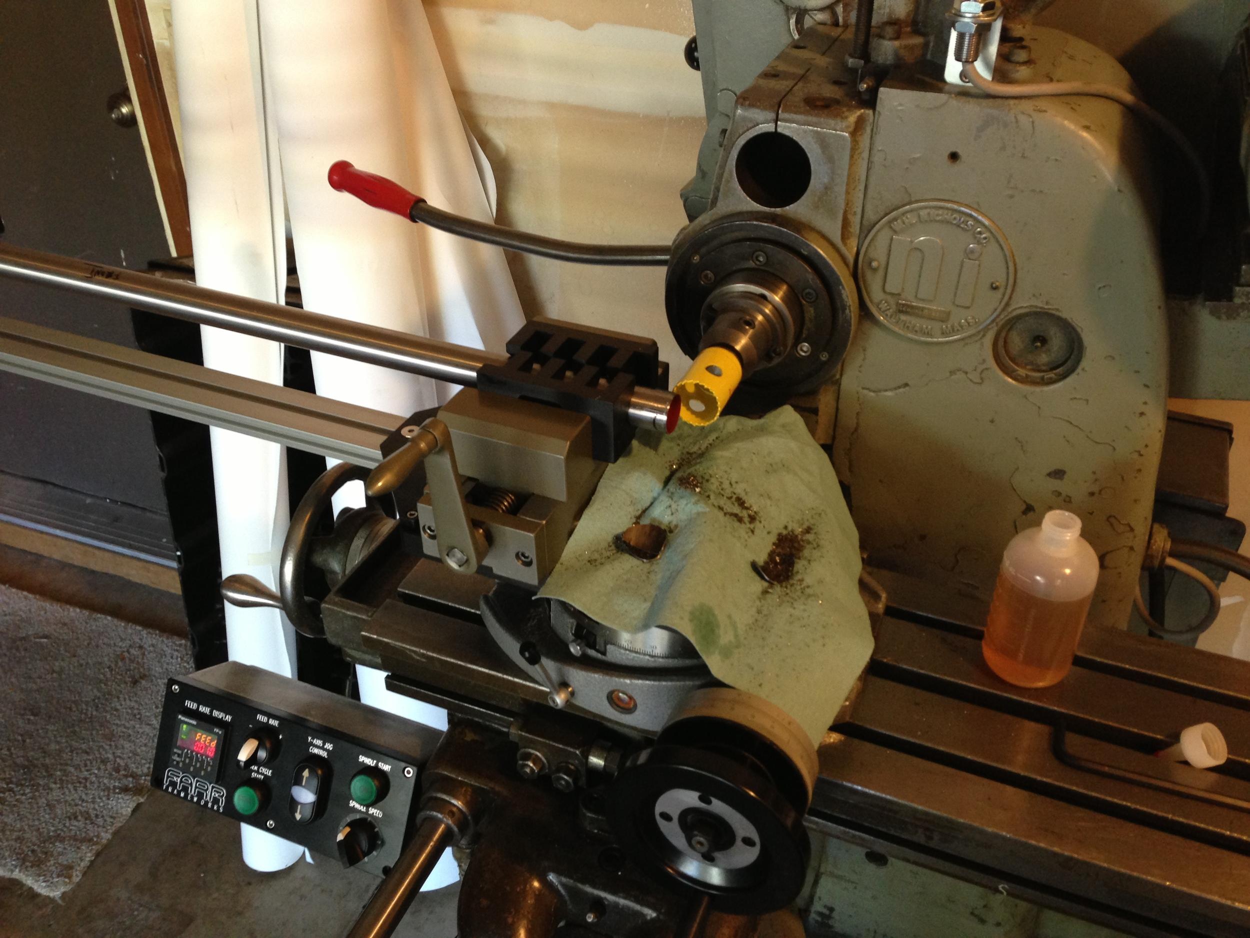 Automated Mitering setup based on 1976 Nichols Horizontal Hand Mill.