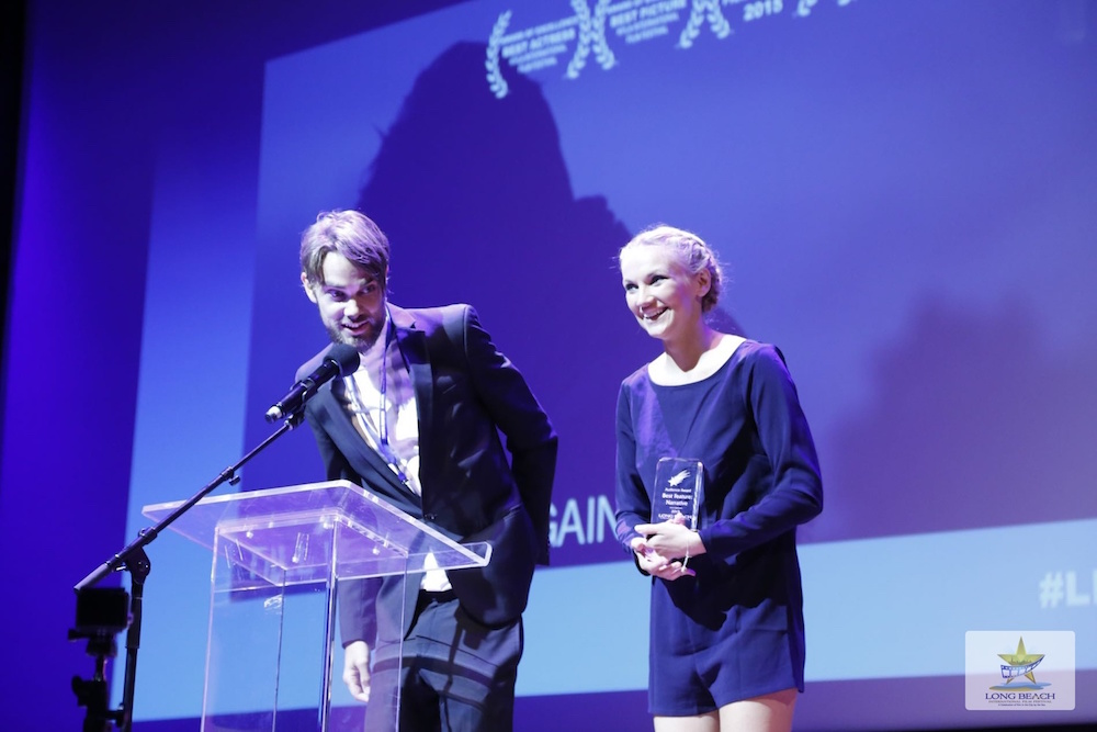 Johan Matton and Linnea Larsdotter accepting the award for Best Picture at LBIFF.jpg