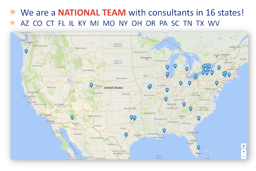 Look at the cluster of consultants in Upstate New York. That's where I live. So, how did we become a nationwide team? Our consultants sometimes move and relocate their businesses. We recruit siblings, cousins, and college friends who live in different states. We keep in contact through Facebook, mailings, text messages, and phone calls. Hey, who do you know in Maine and Montana?