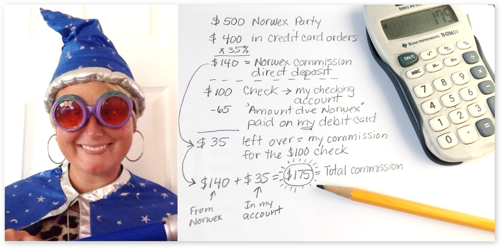 You don't need to be a Math Wizard to understand how the commissions from cash and check orders show up in your checking account. You put them there, yourself!