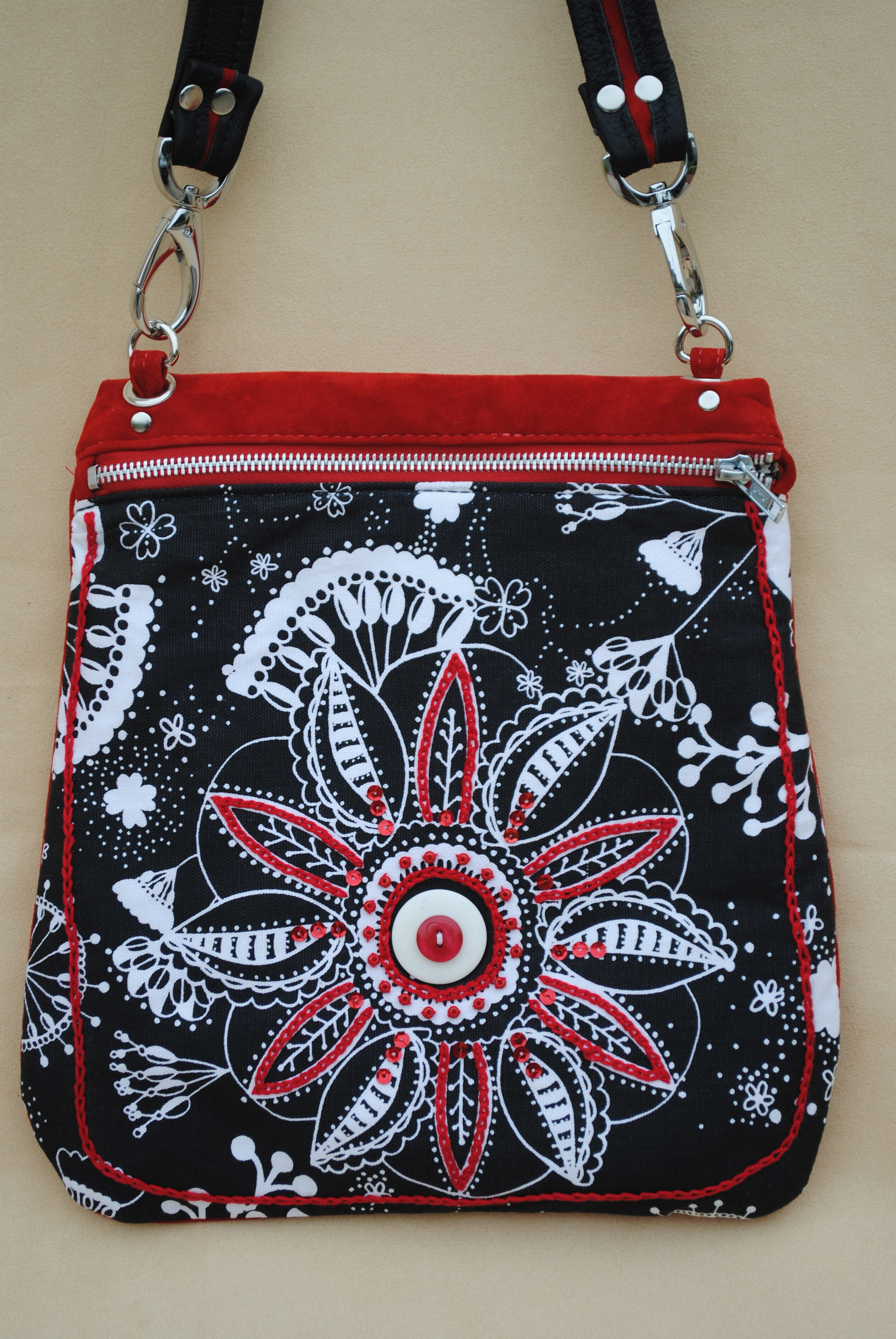 Rakhi Red Suede Leather with Beads and Embroidery
