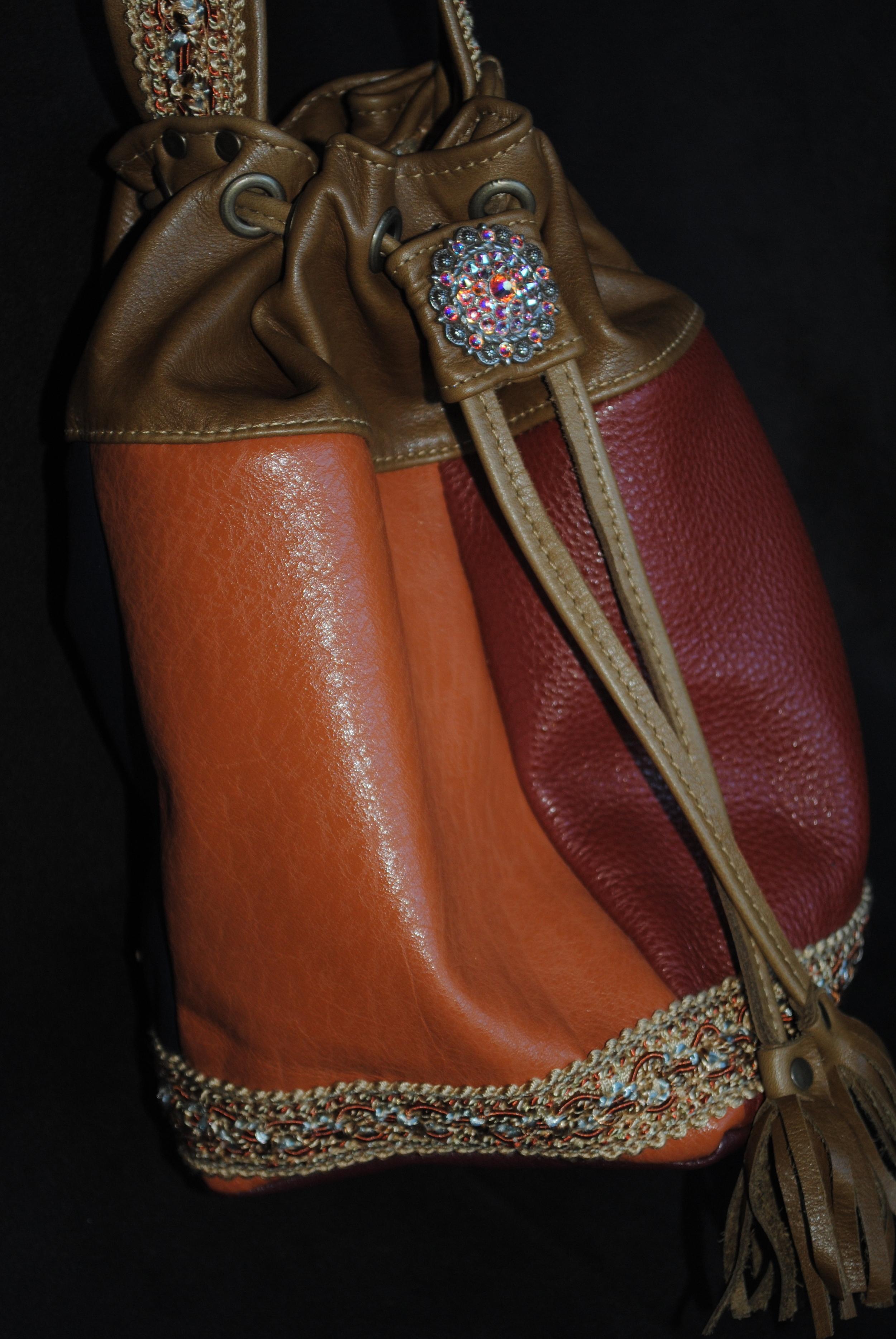 """Auburn and Burnt Orange Soft Leather Drawstring """"Aruna Discombobulated"""""""
