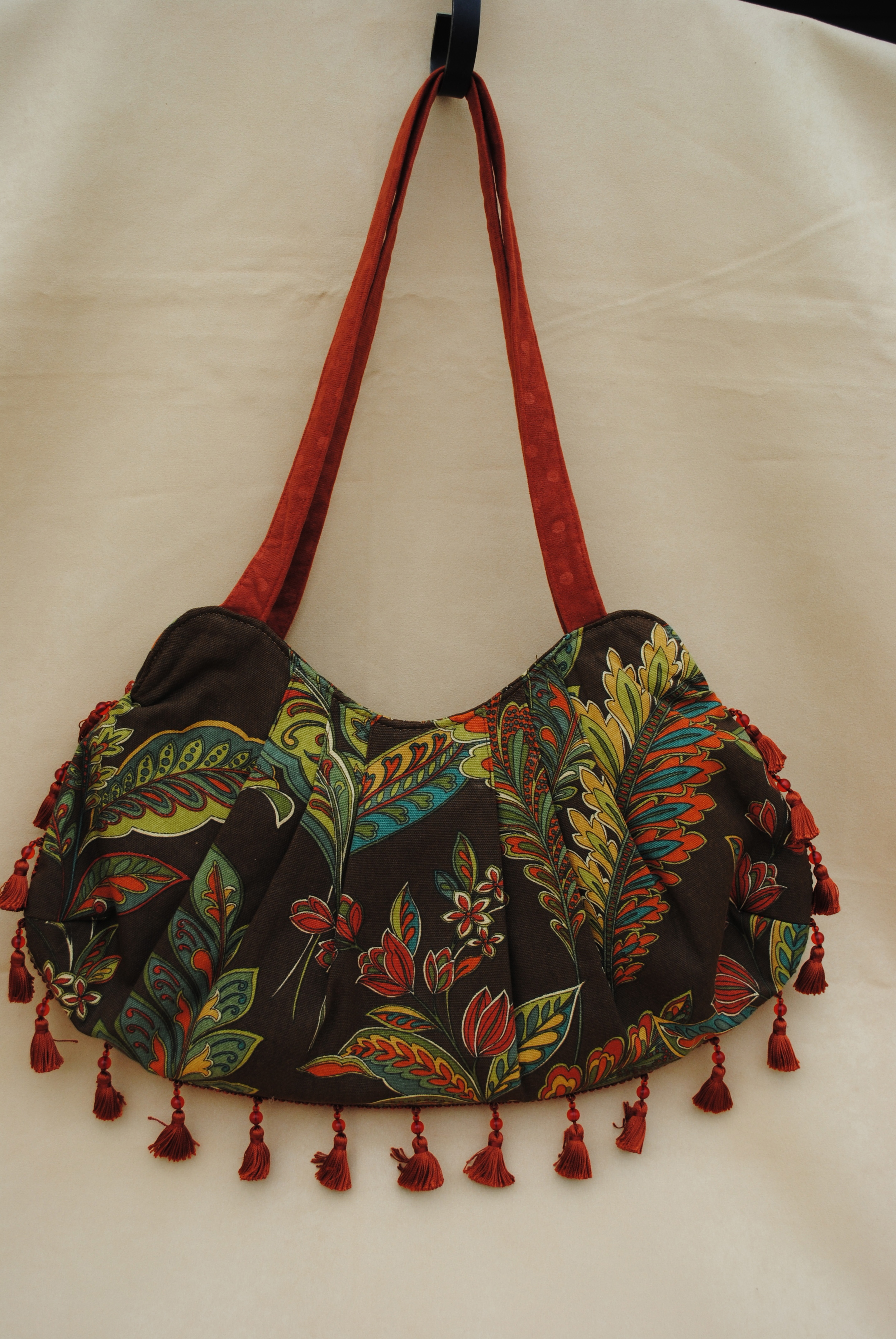Shaista Pleated Bag in Earthy Brown and Orange