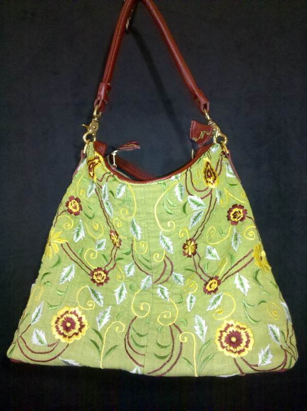 """All Embroidered and Quilted with Leather Handle """"Bahar"""""""