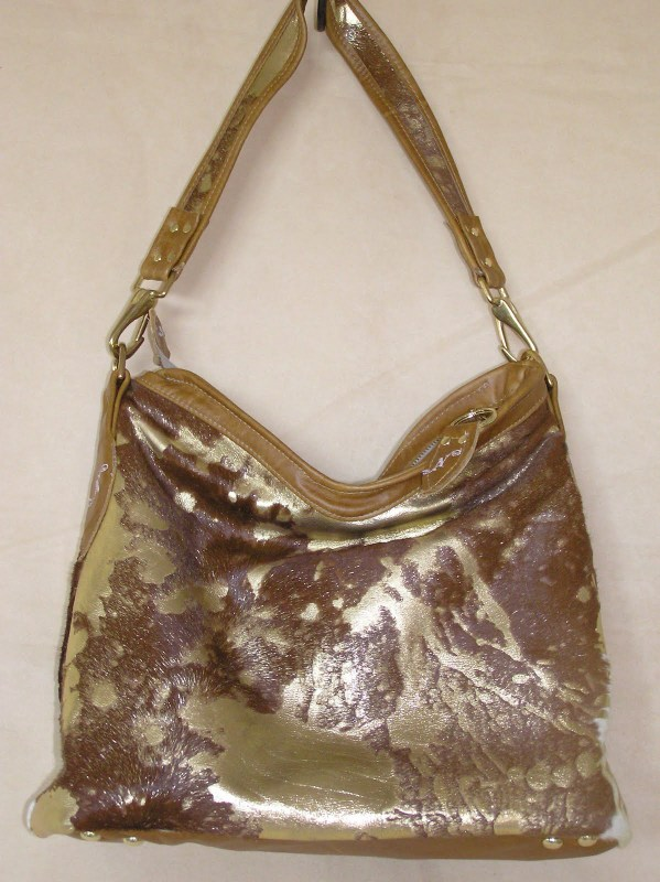 Golden Calf Real Fur on Hide Slouchy Purse
