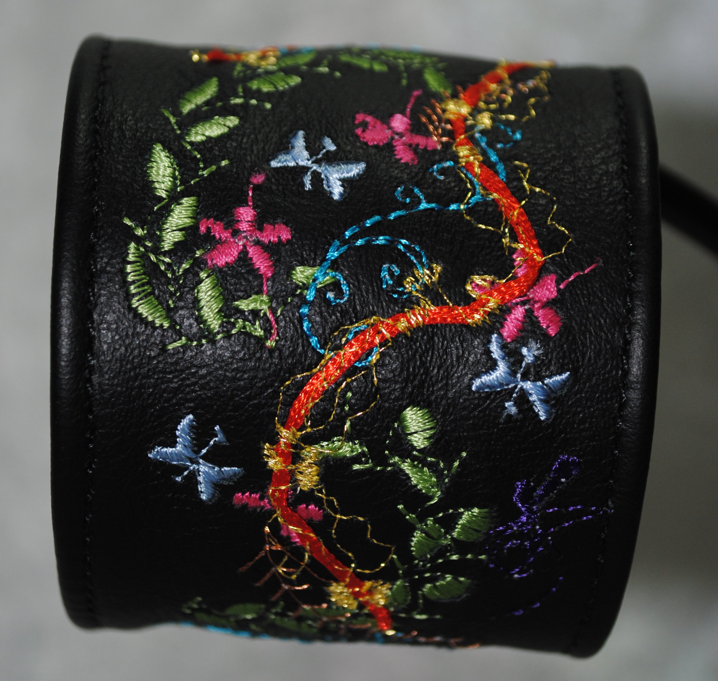 Sophisticated Garden Leather Zippered Cuff