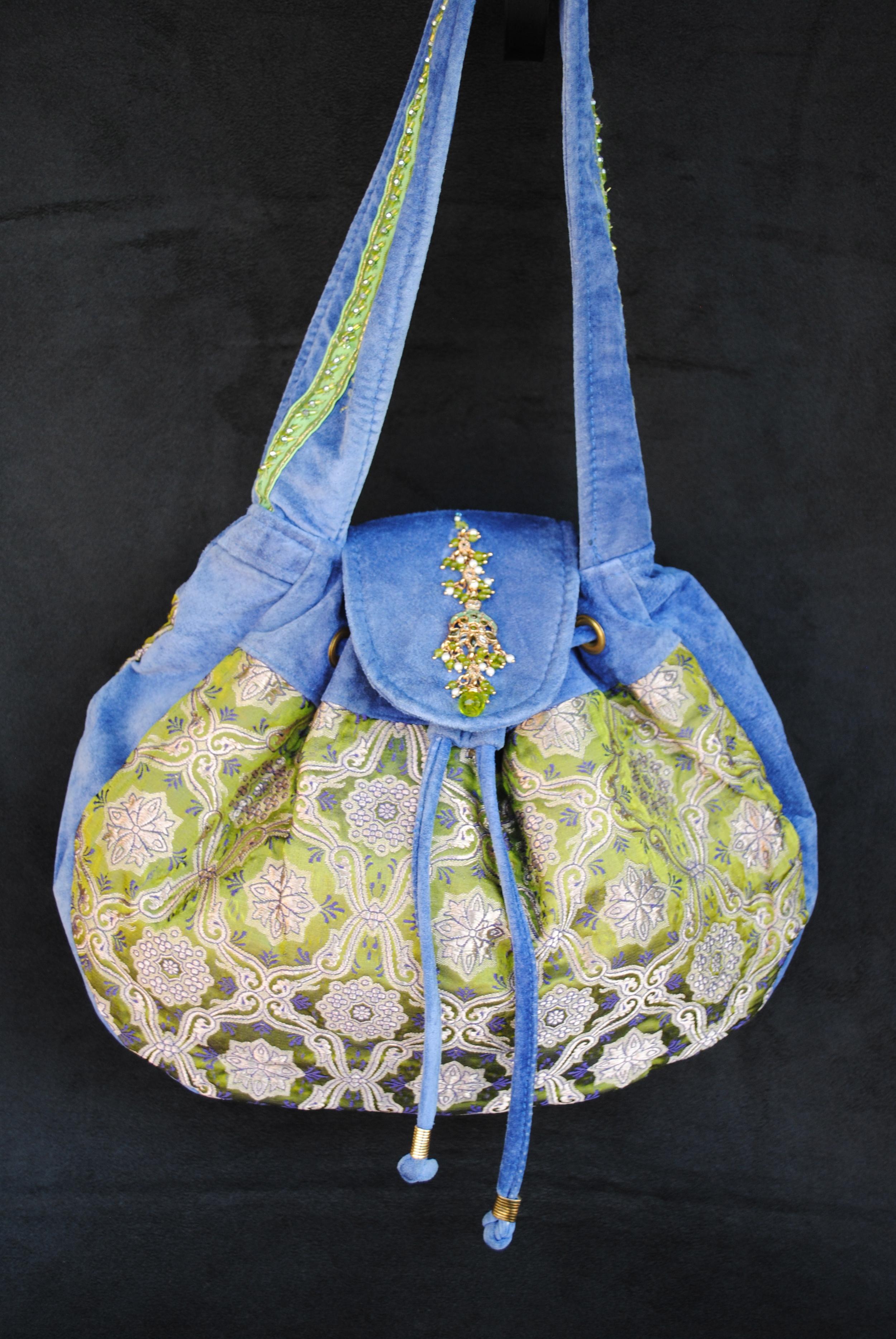 Saphire and Peridot Drawstring Bag
