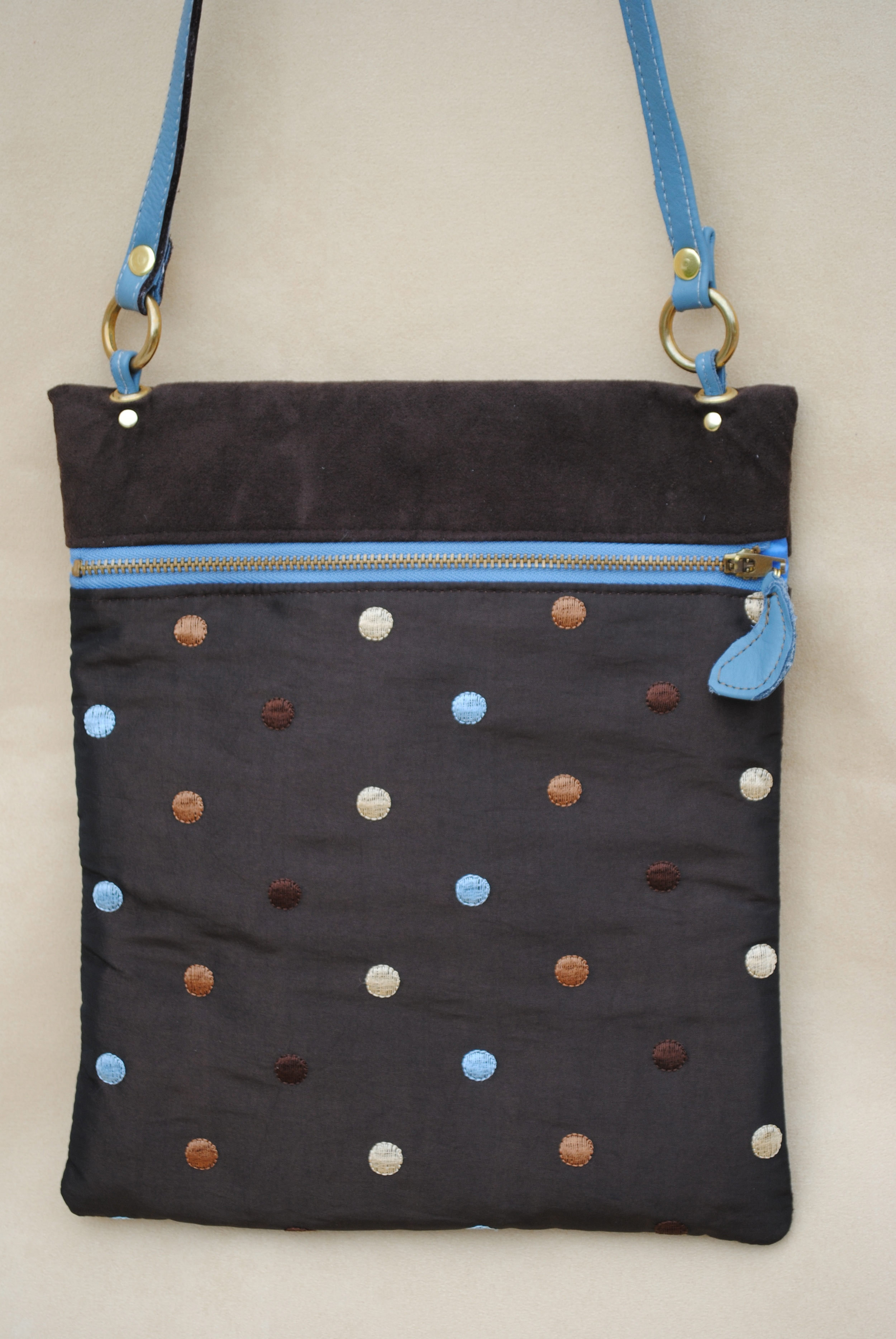Polka Dots Pocket Purse With Leather Handle