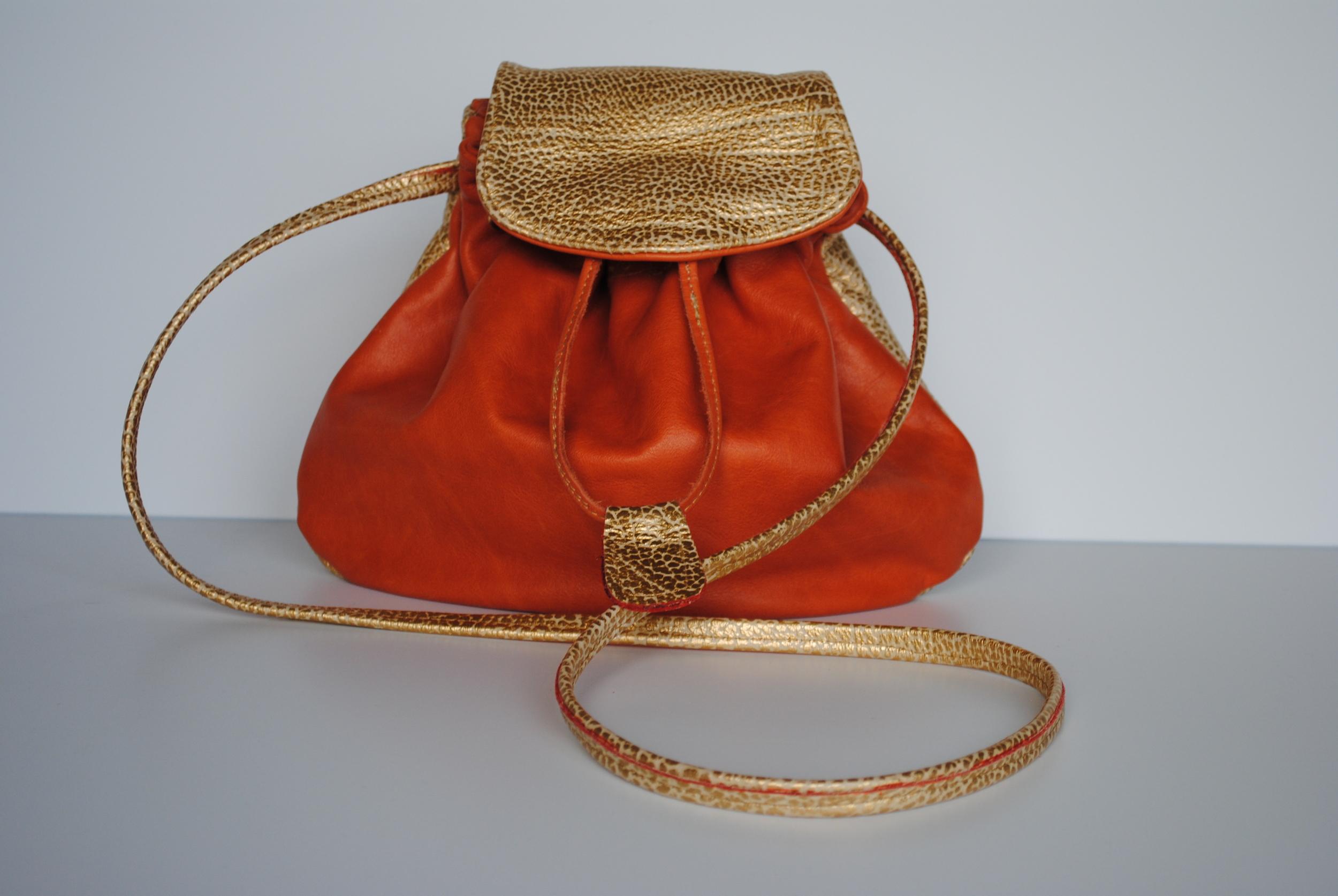 Kursheed All Leather Tangerine and Gold   Drawstring Batwa