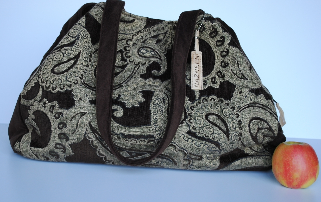 Ooty Large Travel Bag Silvery Tapestry and Velour