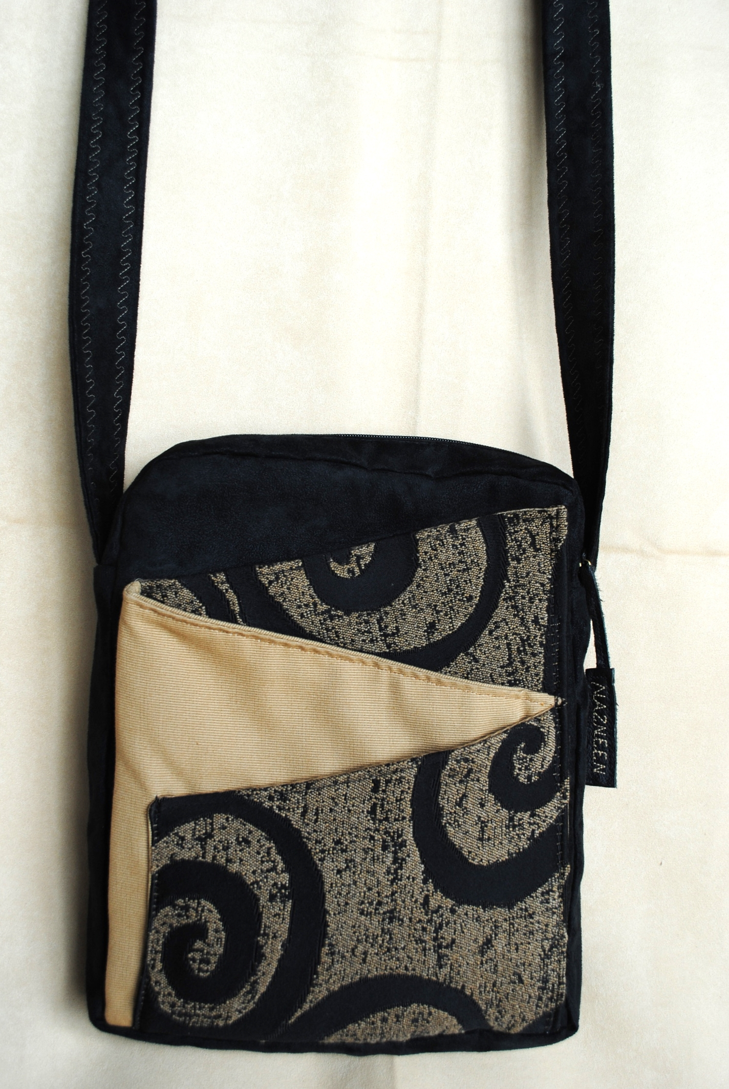 Black Swirls on Gold Zig Zag Messenger Bag