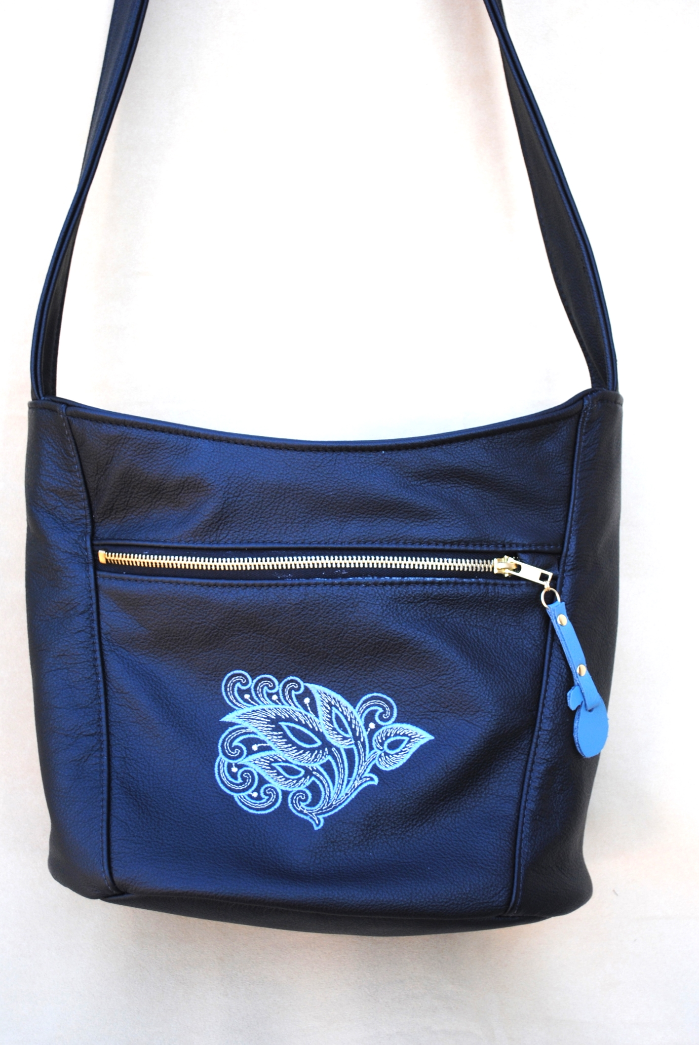 All Leather Bucket Purse with Embroidery