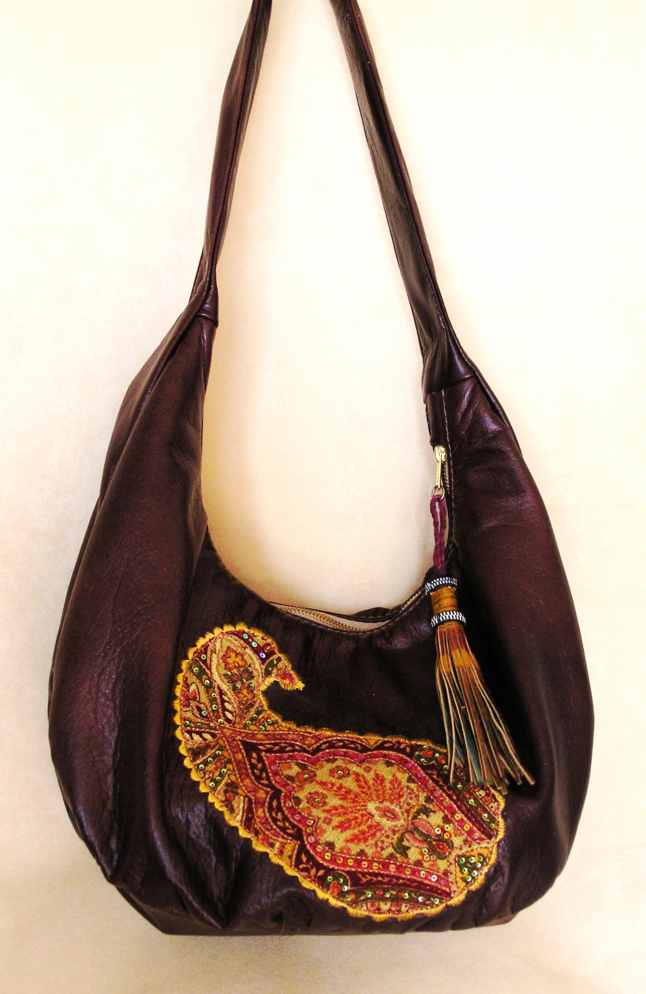 Tree of Life All leather Hobo with Applique