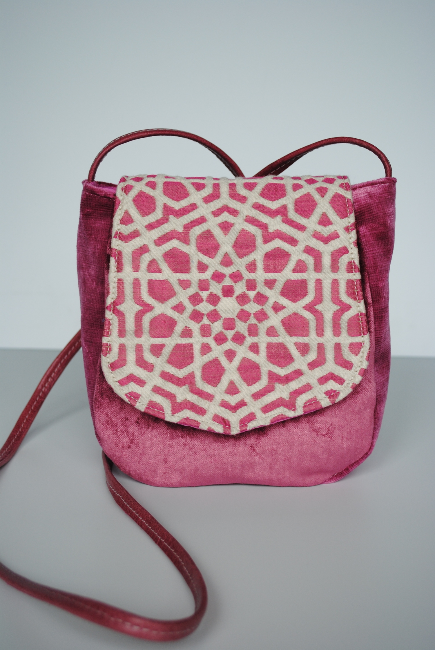 Alhambra Pink Small Cross Body Leather Handle