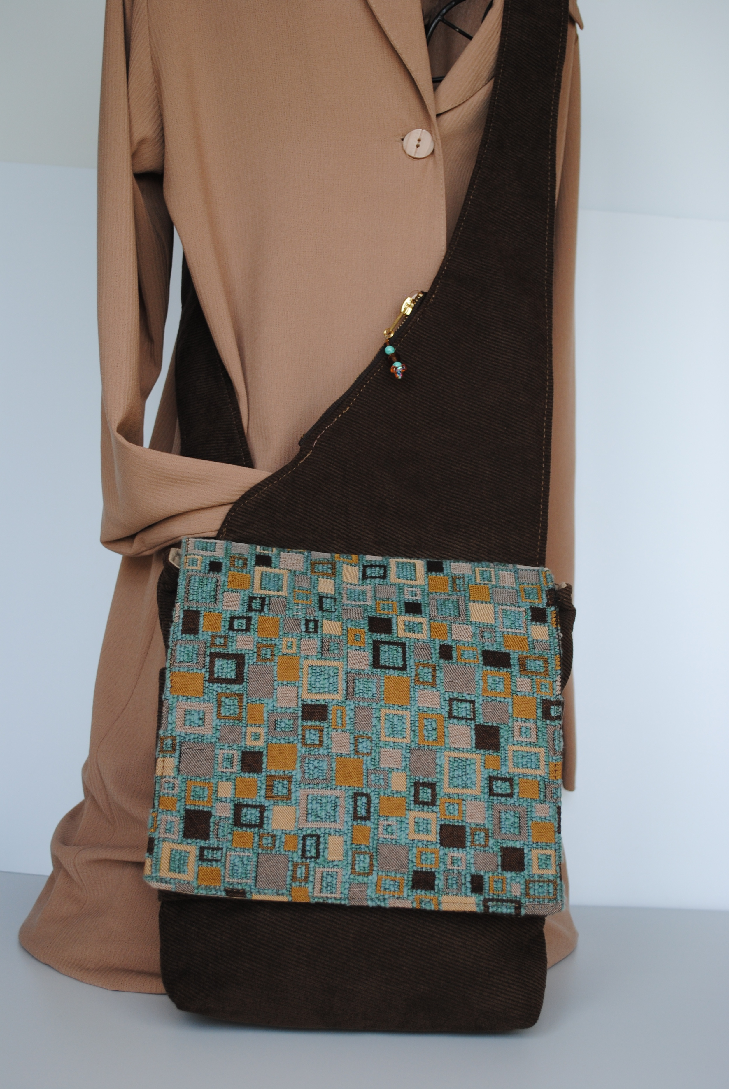 City Lights Messenger Brown and Turquoise