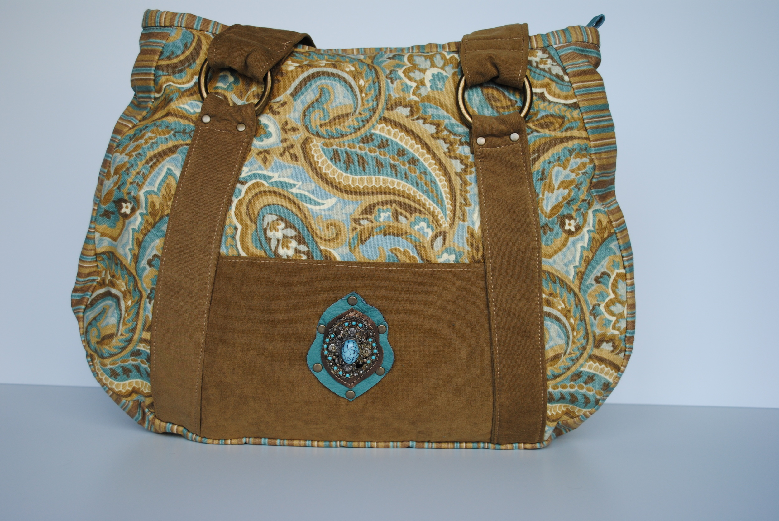 Golden Turquoise Paisley Tote