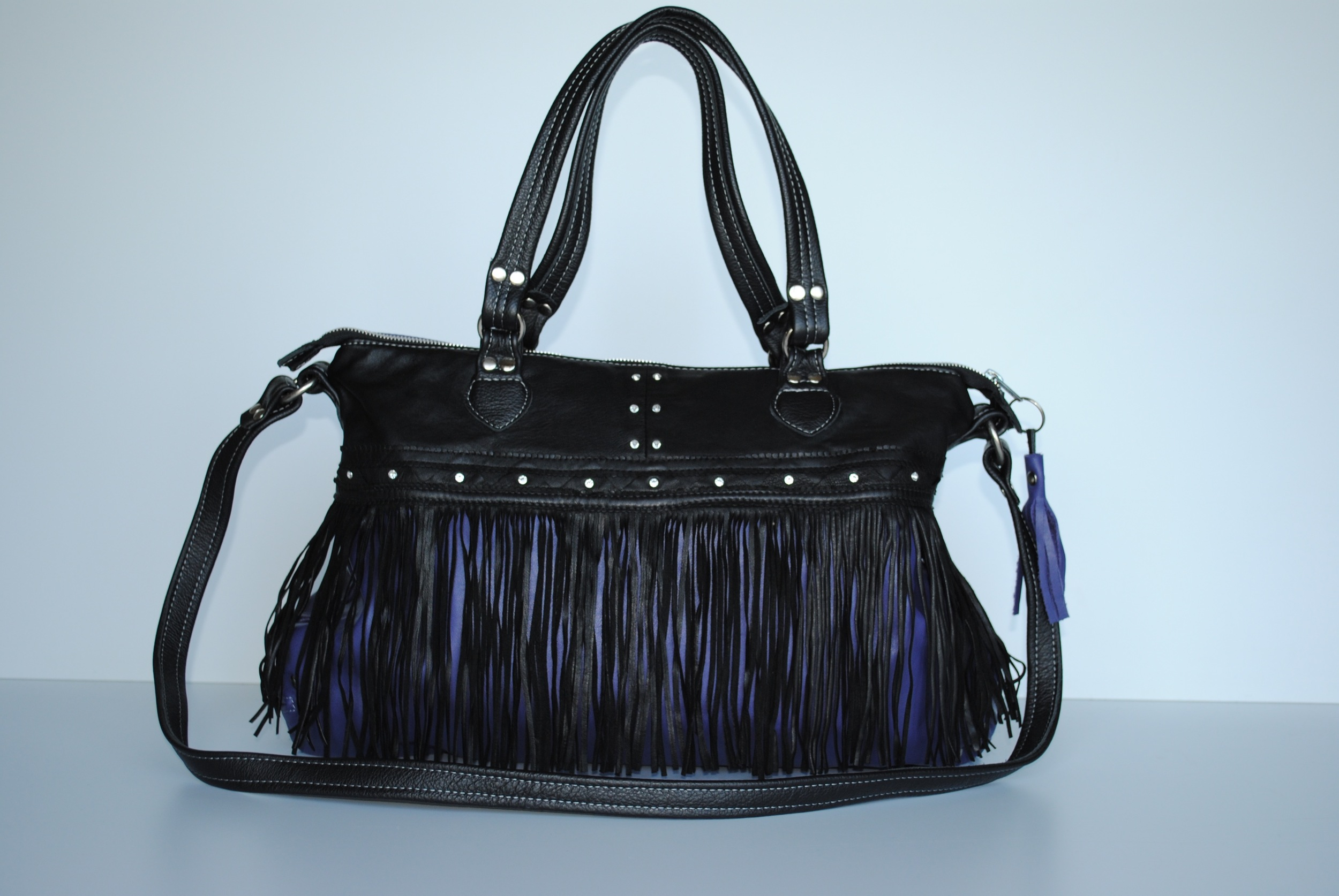 Fringed Black and Purple Leather Bag