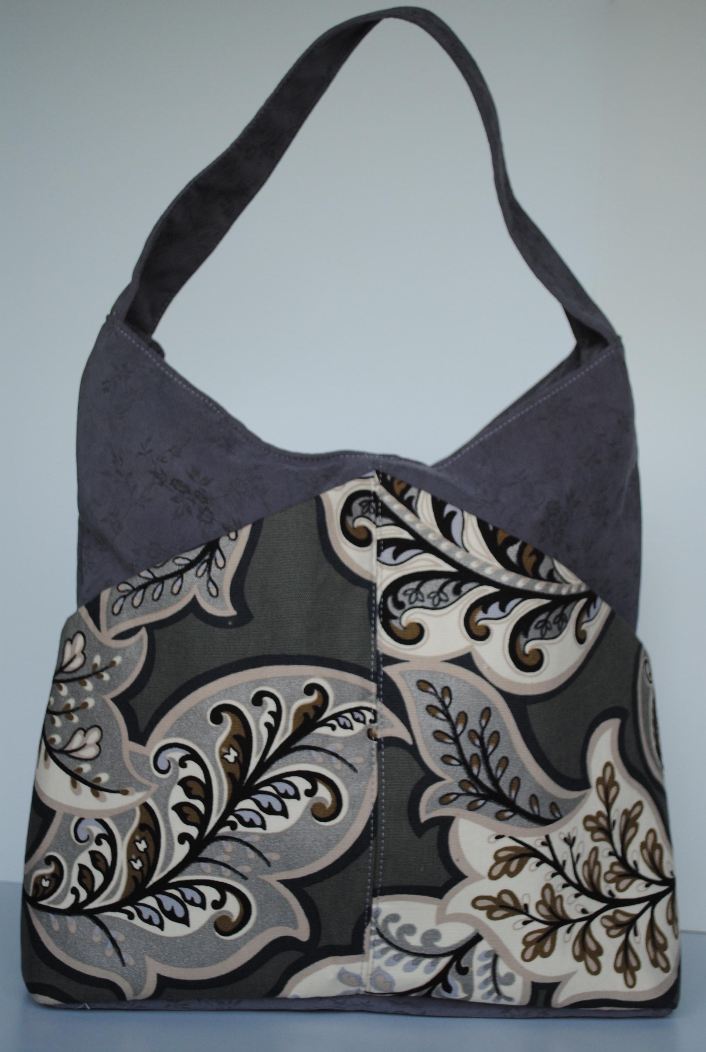 Grey Leaves Large Bag