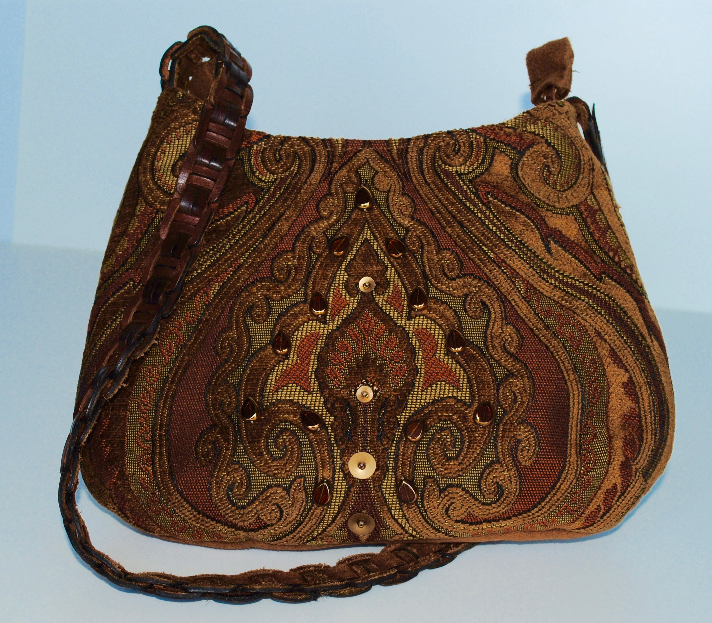"""Small Brown Saddle Fabric Bag, """"Tawny Pouch"""""""