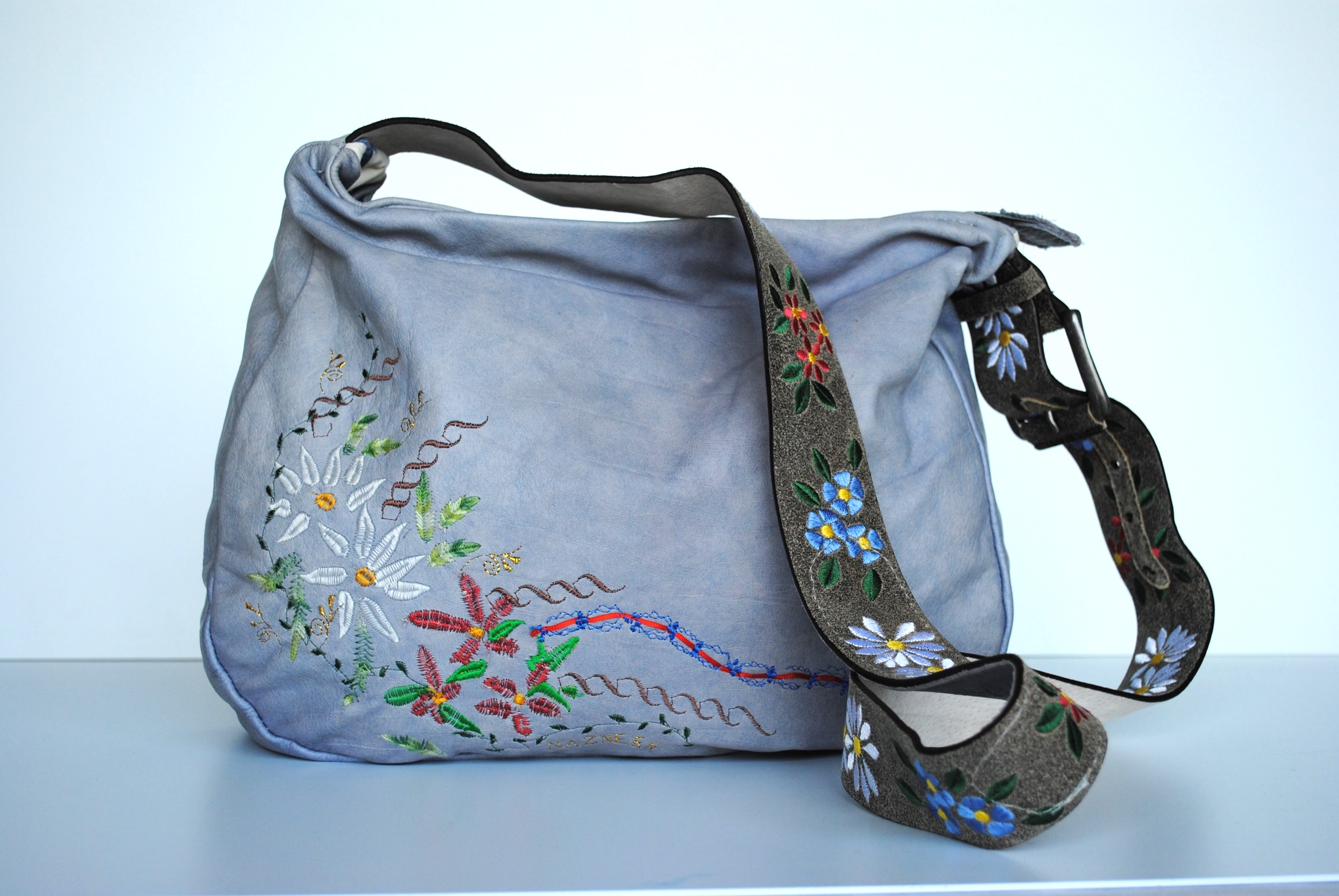 Edelweiss All Leather Embroidered Messenger Bag