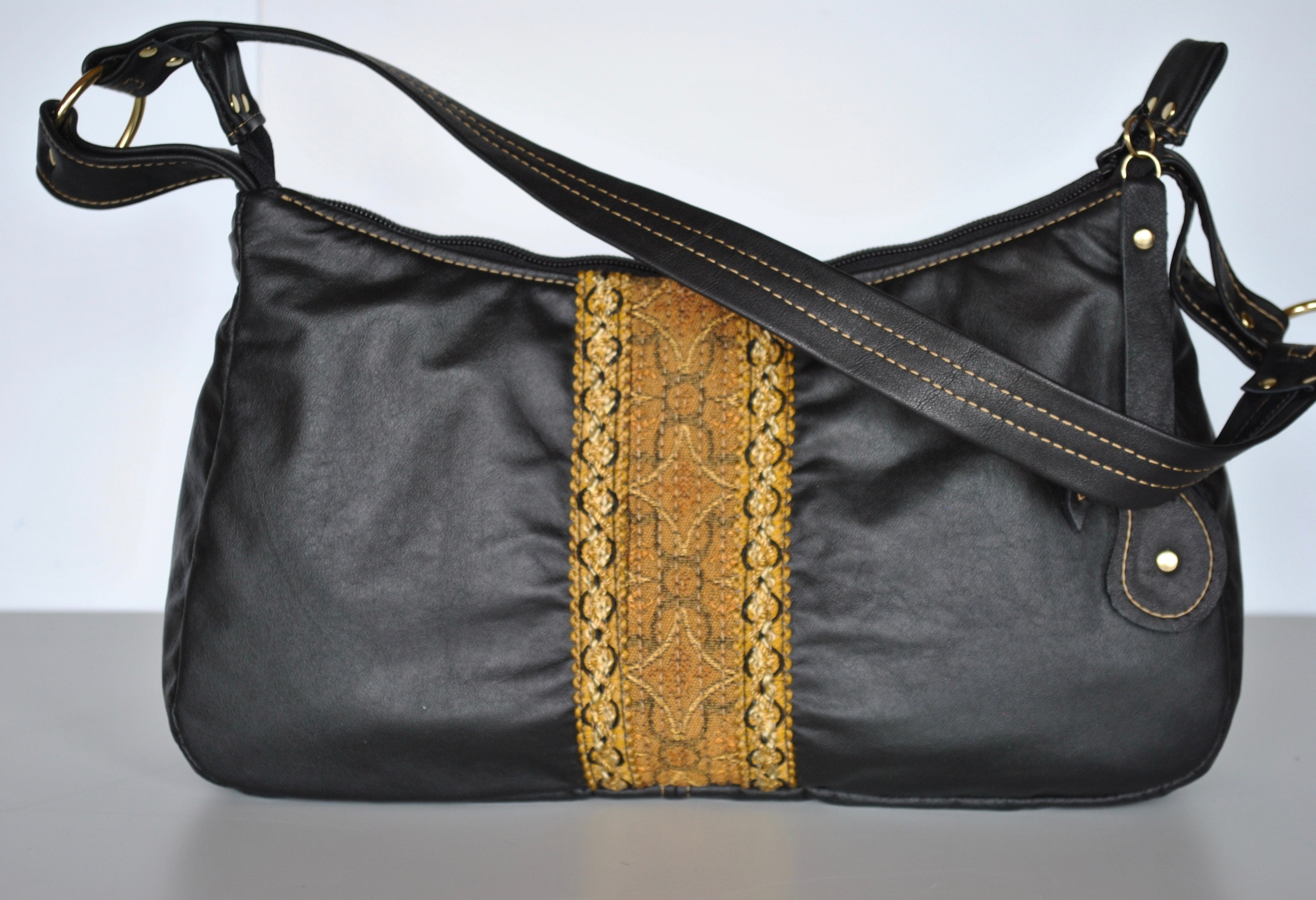 Black Leather Handbag with Gold Embelliahment