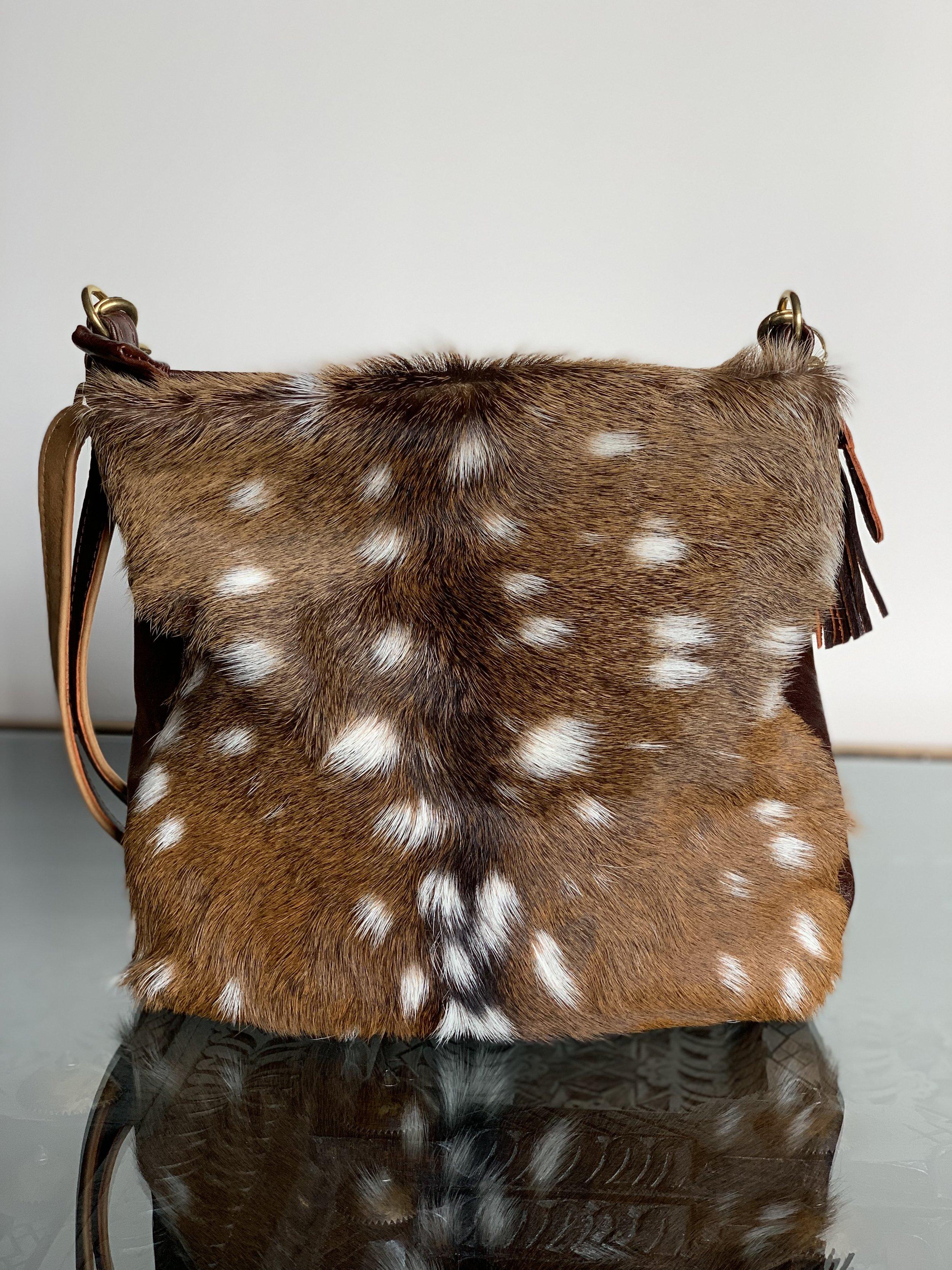 Axis Deer Skin With Fur and Dark Brown Cowhide