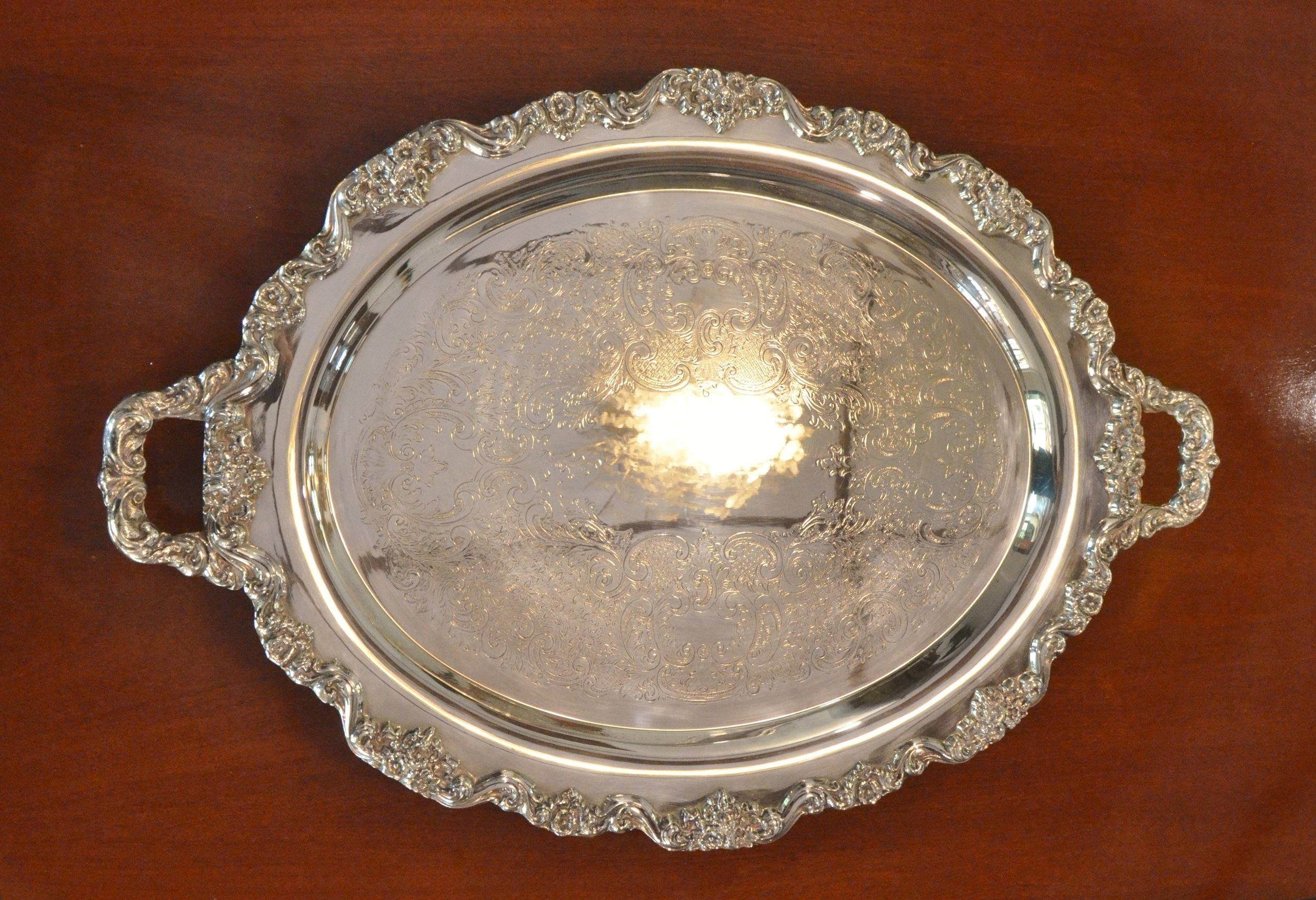 "GORGEOUS LARGE  OVAL SILVER TRAY   30"" X 20""  Victorian. Circa 1890-1910. Perfect condition. Very large tray with beautiful chasing. It weighs 13 pounds, very heavy quality piece.   View more photos of this item    Price upon request.  Private viewing by appointment."