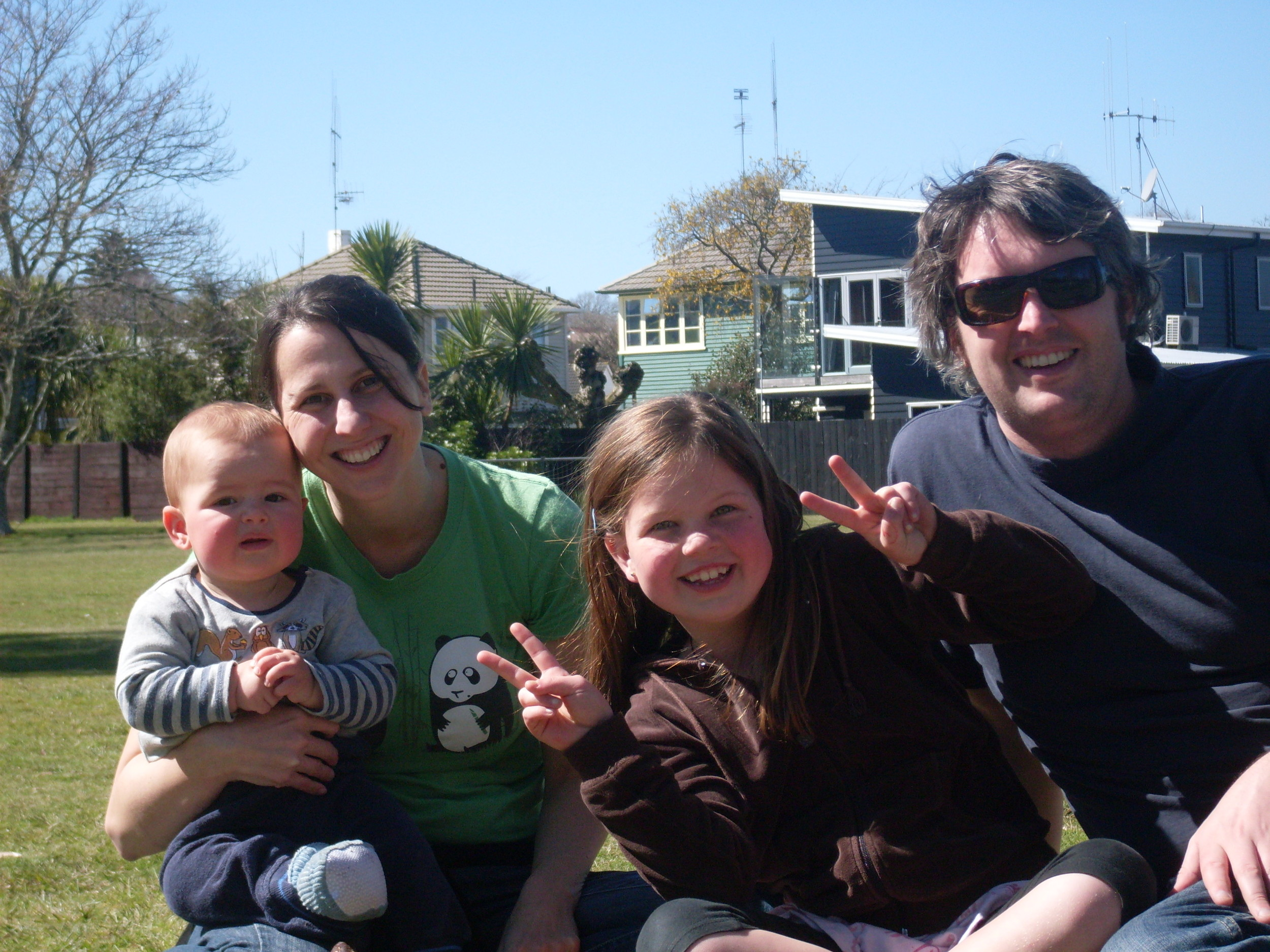 Early in my pregnancy. Luca (10 mths), me, Laura (7yrs) and Mark.