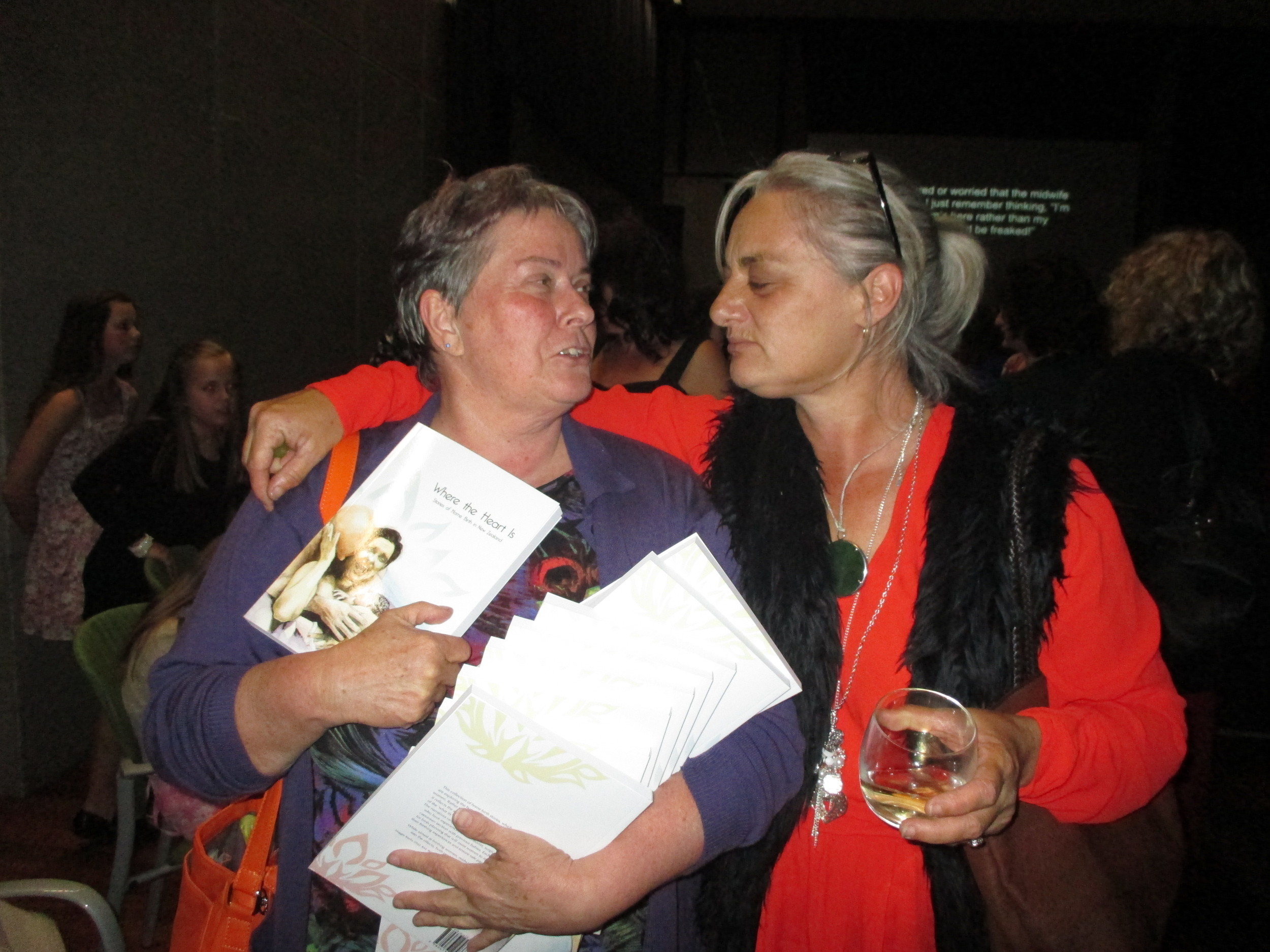Two fabulous home birth midwives, Jenny and Joanne. Jenny got a bit carried away with her book purchases on the night!