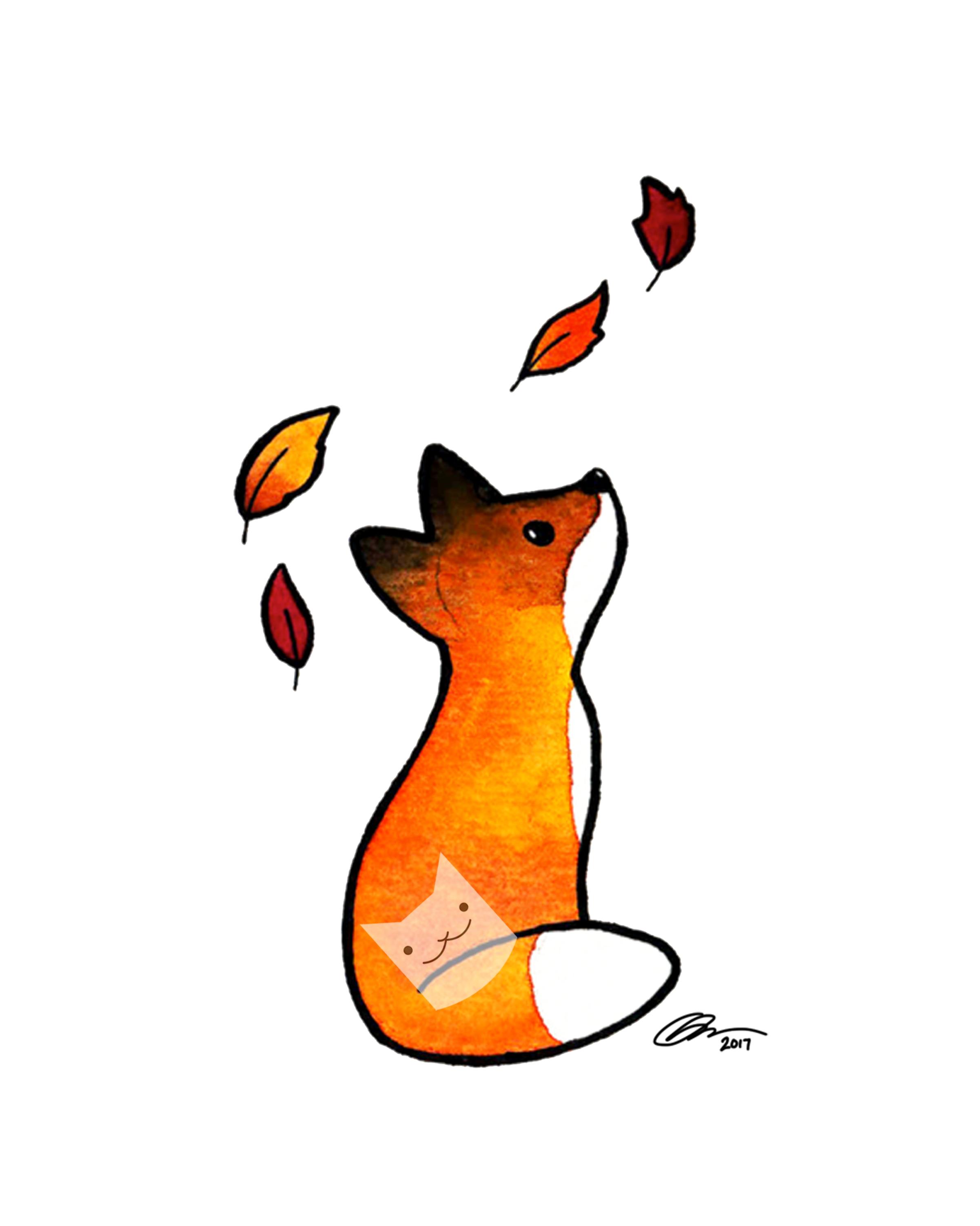 fox in leaves 8x10.JPG