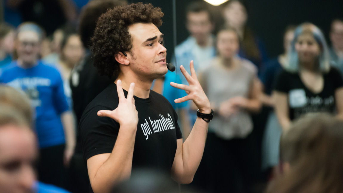 Hamilton's Andrew  Chappelle teaching in Studio Three
