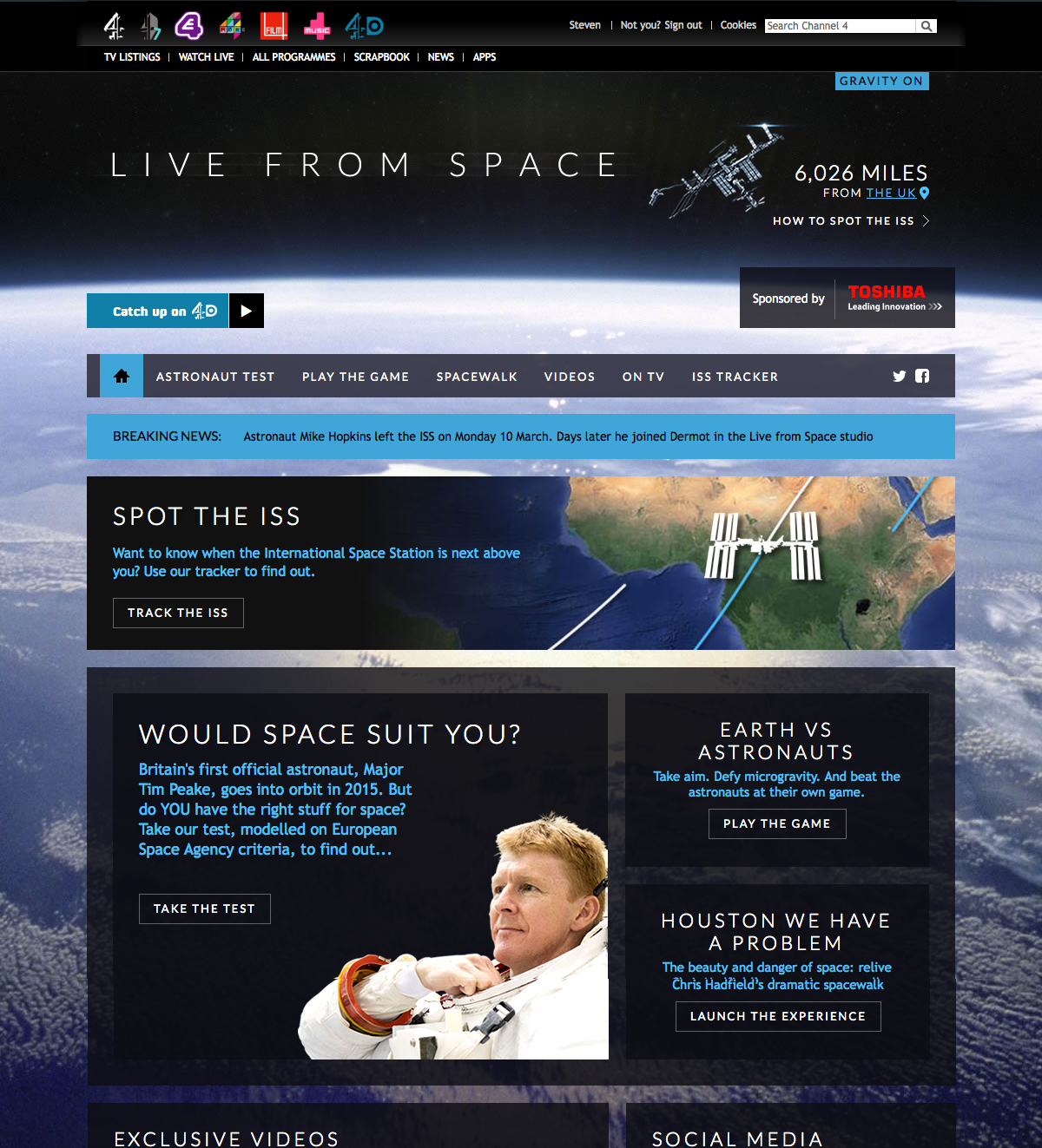 Live From Space Homepage