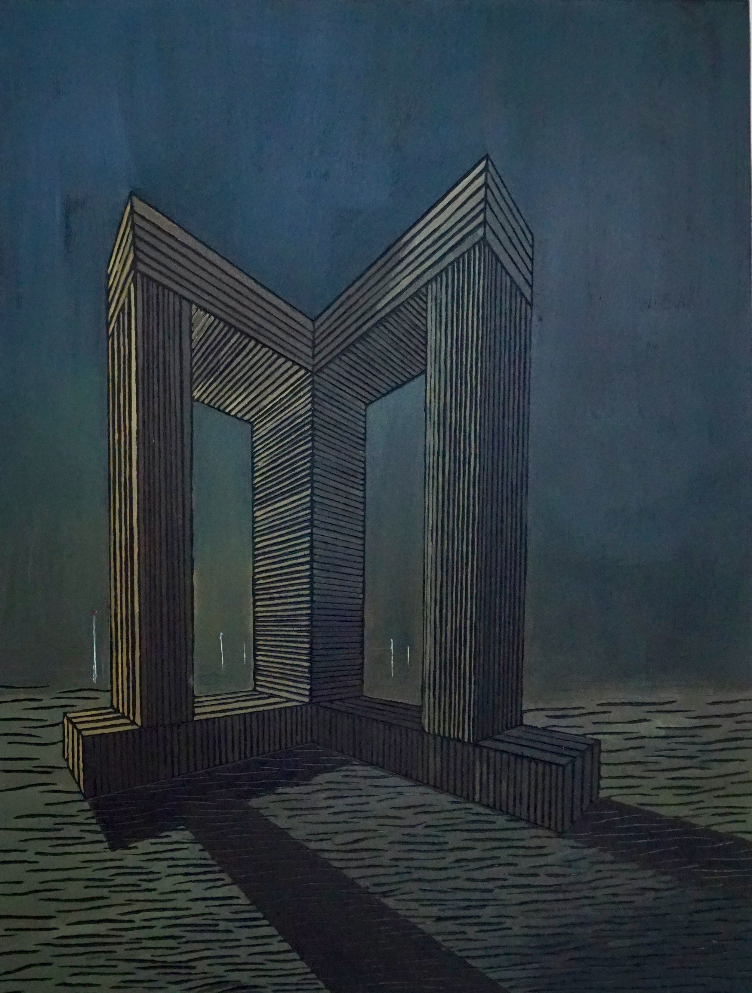 Woodcut and oil on plywood, 51x45cm