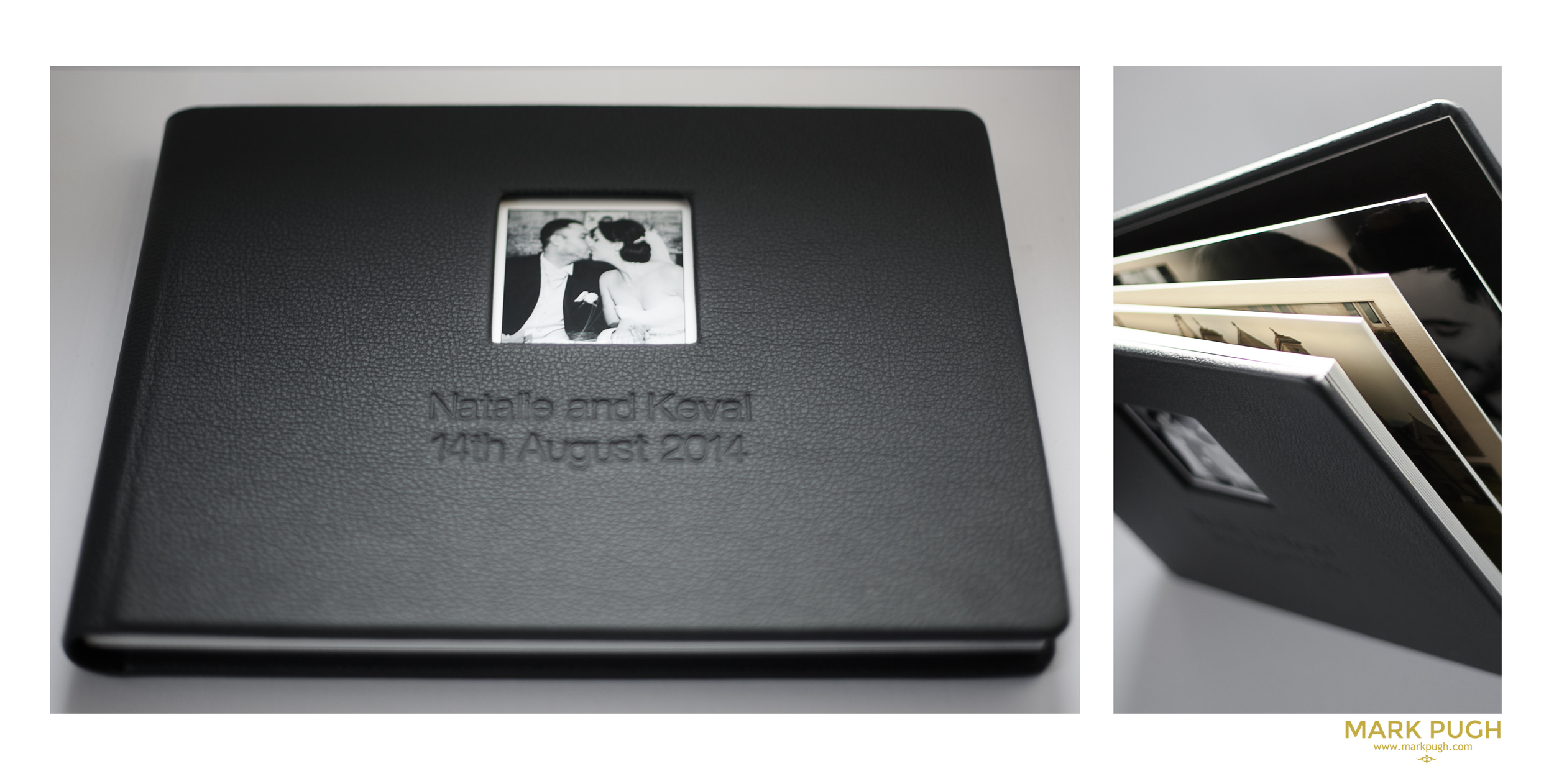 (above) photographs of the external album design - Natalie and Keval opted for a black album out of a choice of 14 different colours.