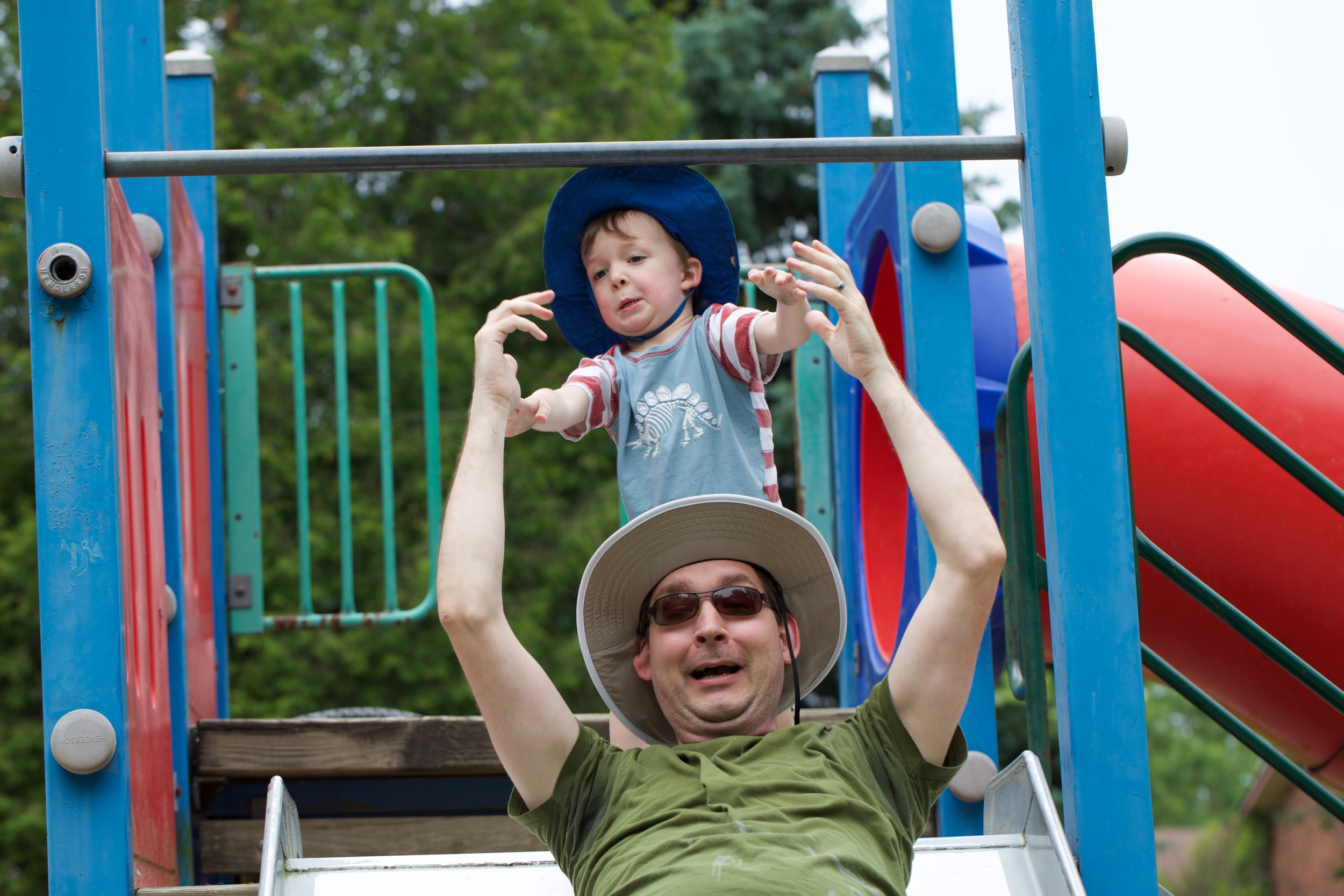 Did I mention it was Father's Day?  This is a pretty accurate rendering of what fatherhood is like for me. (Photo by Kesta Graham)