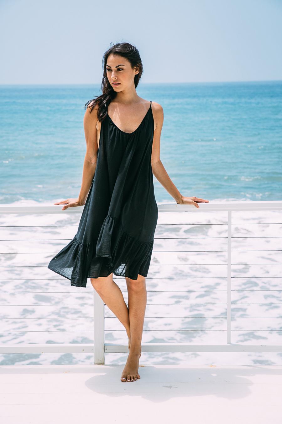 St Tropez ruffle mini - black