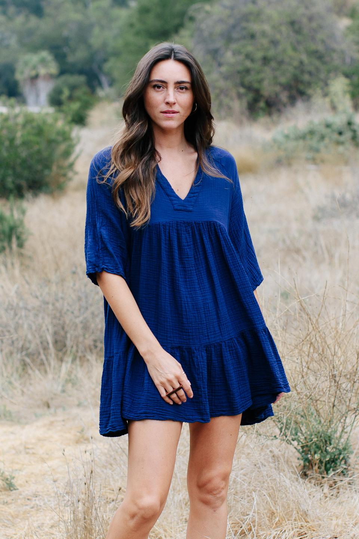 Marbella ruffle dress - pacific