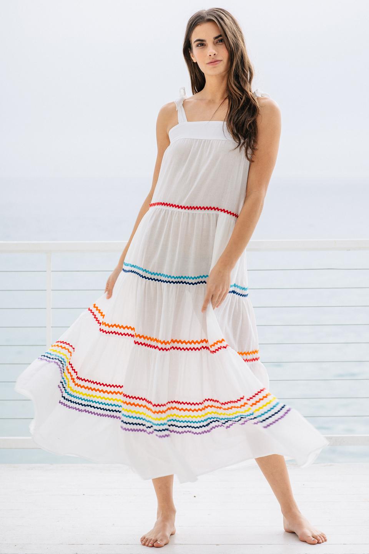 3f5a6df72dbdf sayulita_white_rainbow01.jpg. SAYULITA tier maxi dress ...