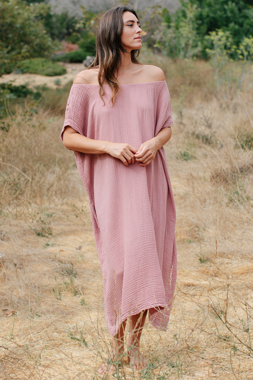 Moonstone off shoulder caftan -  berry
