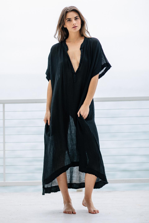Tunisia short sleeve caftan - black