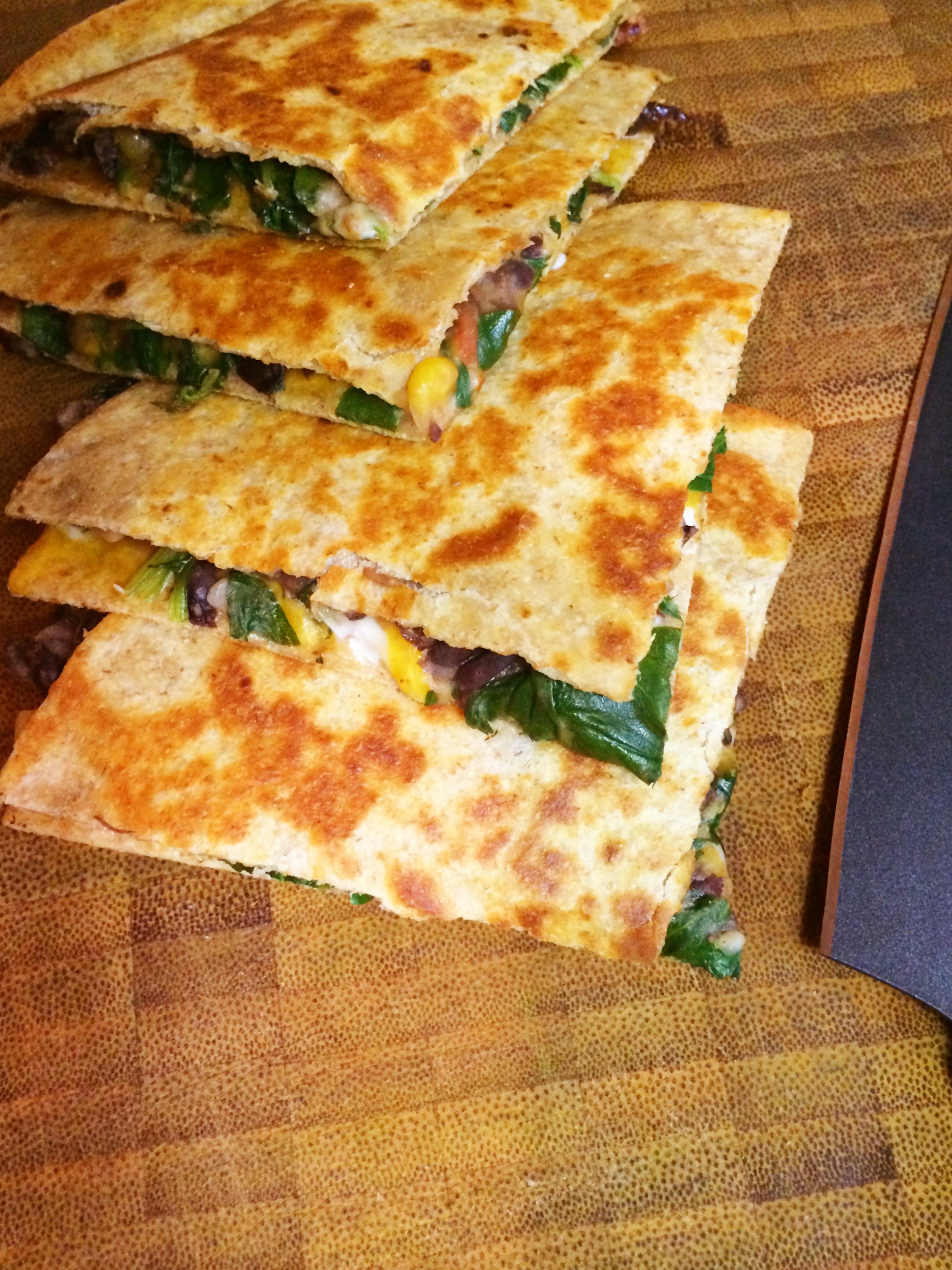 Spinach, Corn, Black-Bean, and Jack-Cheese Quesadillas