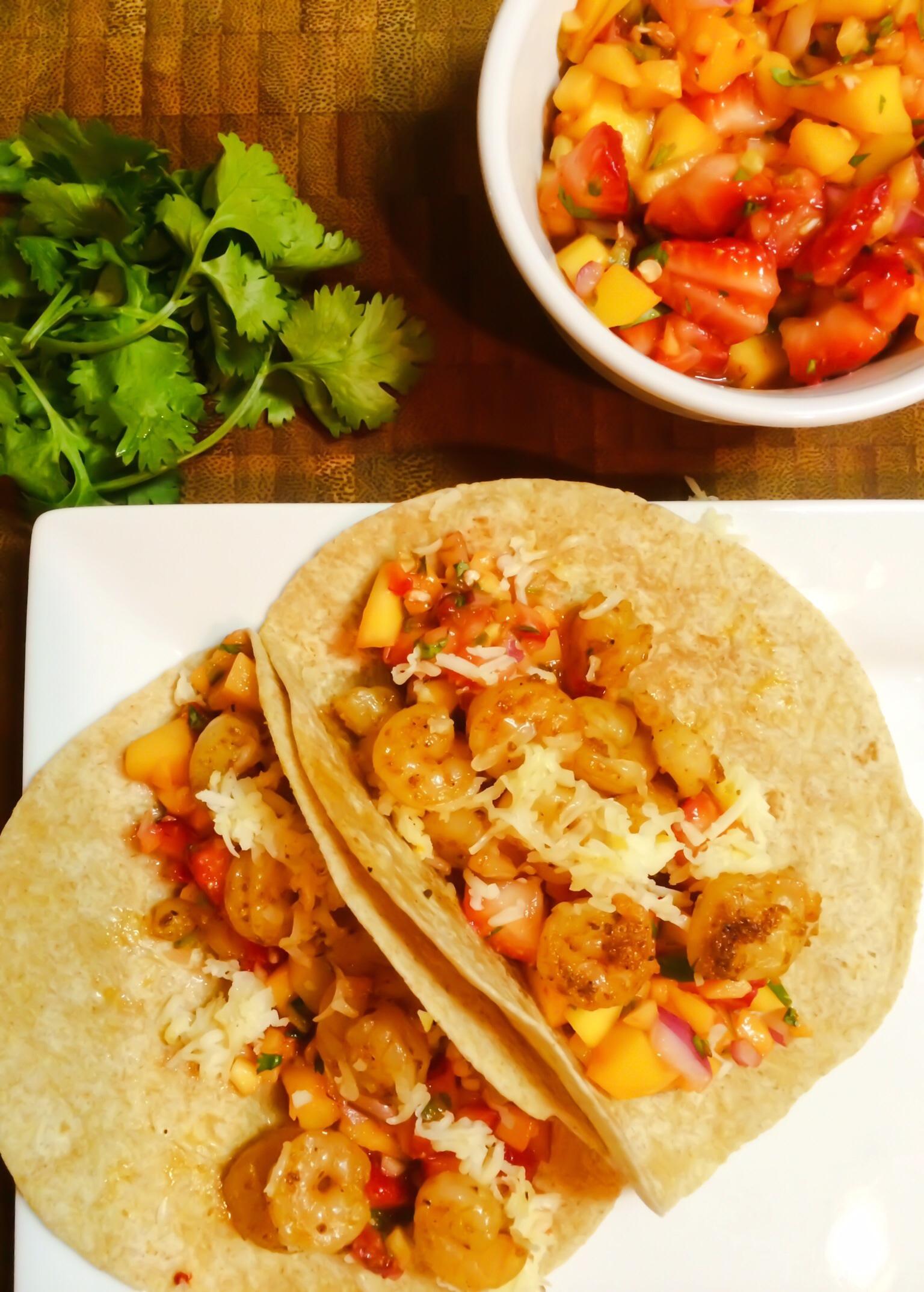 Shrimp Tacos W/ Strawberry Mango Salsa