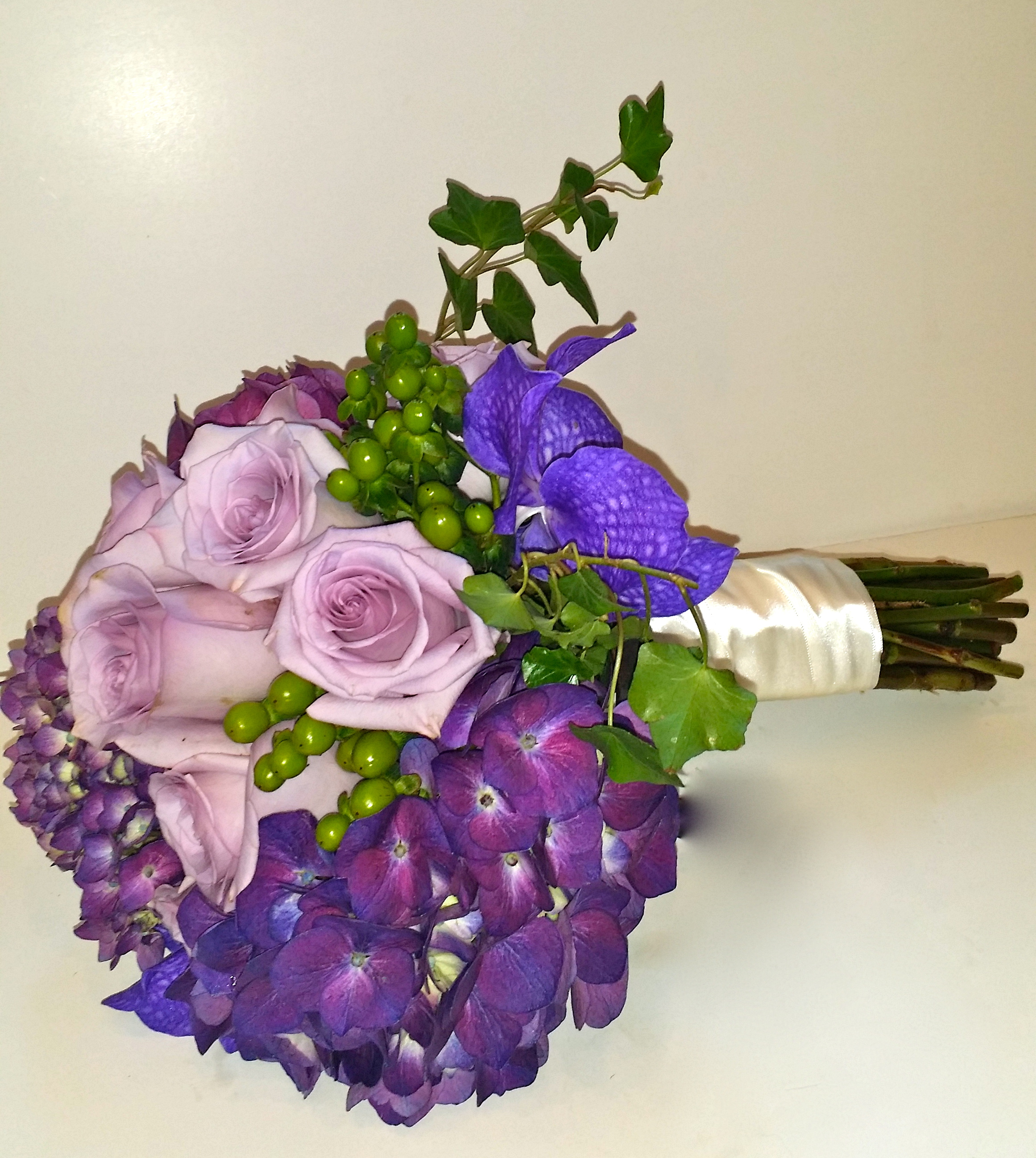 Ocean Song Rose, Vendetta Orchid, Hydrangea, Hypericum -