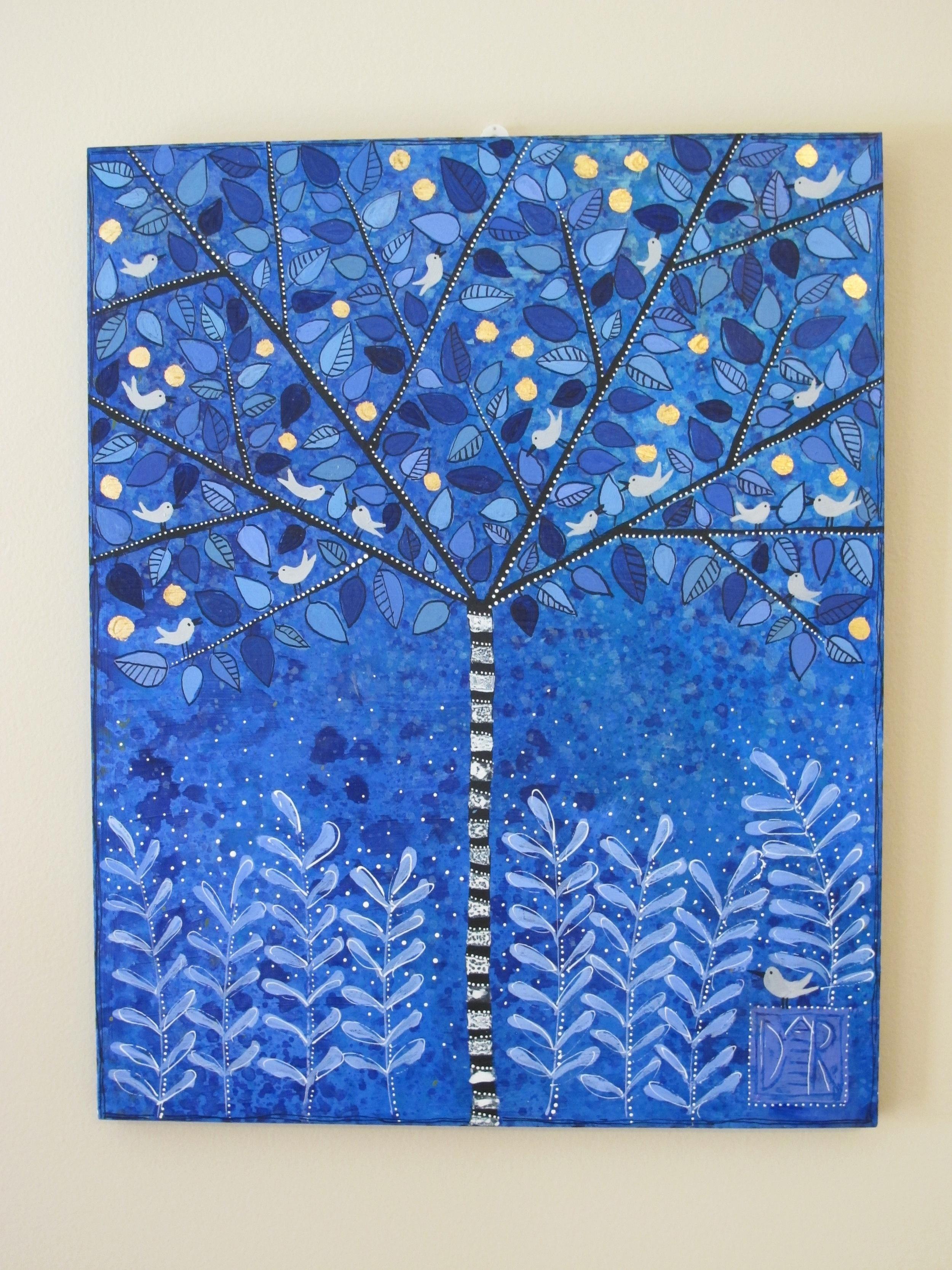 """Blue Zebra Tree, 16x20"""""""